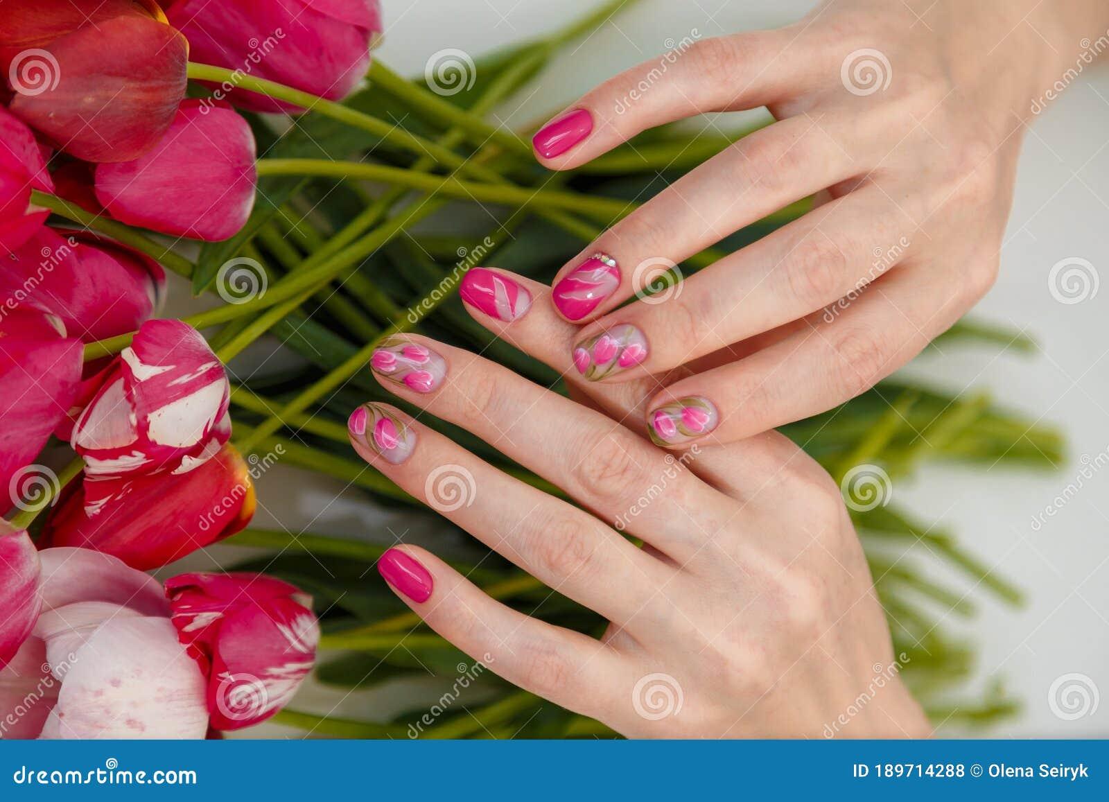 tulips design nail art manicured fingernails spring flowers background beauty concept tulips design nail art manicured 189714288