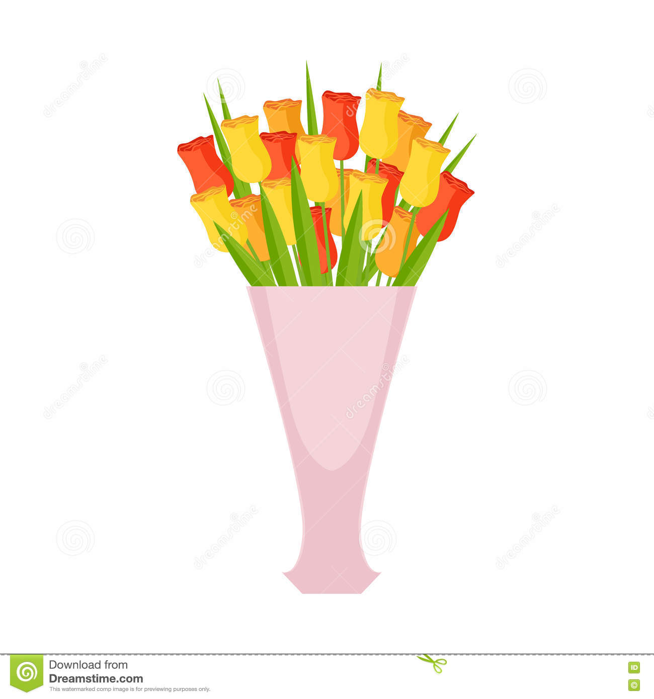 Tulips Flower Bouquet In Tall Vase Shop Decorative Plants Assortment Item Cartoon Vector