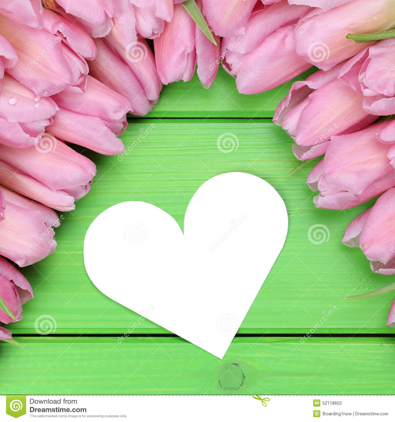 Tulips Flowers With Heart Mothers Valentine s Day And Copy Stock Ph