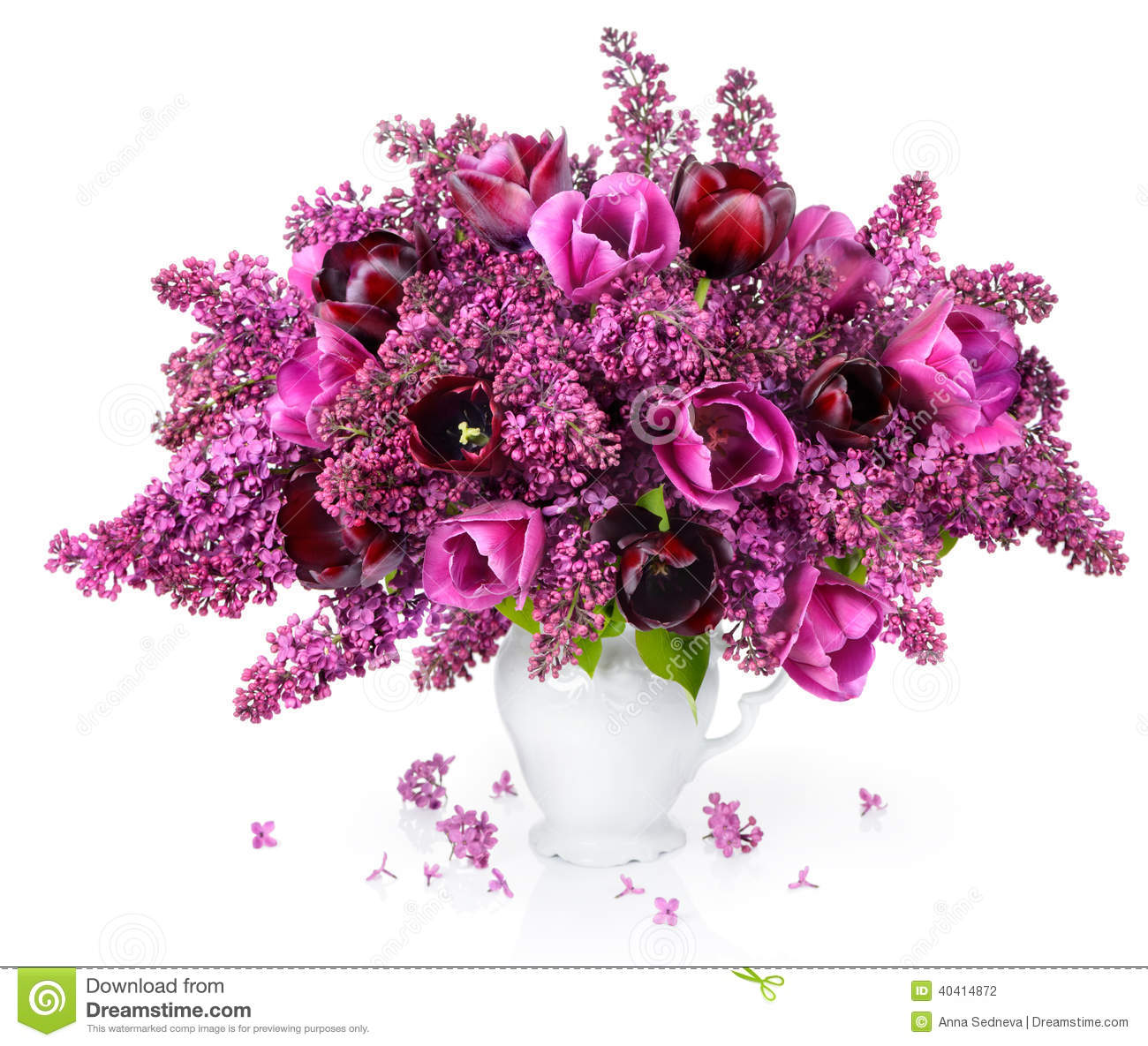 Tulips And Lilac Bouquet Stock Photo Image Of Freshness