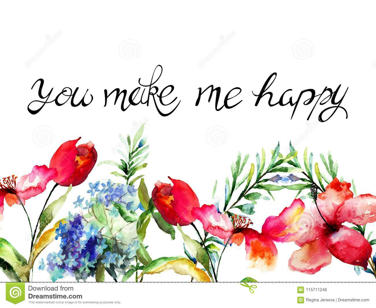 Tulips, Lily And Hydrangea Flowers With Title You Make Me ...