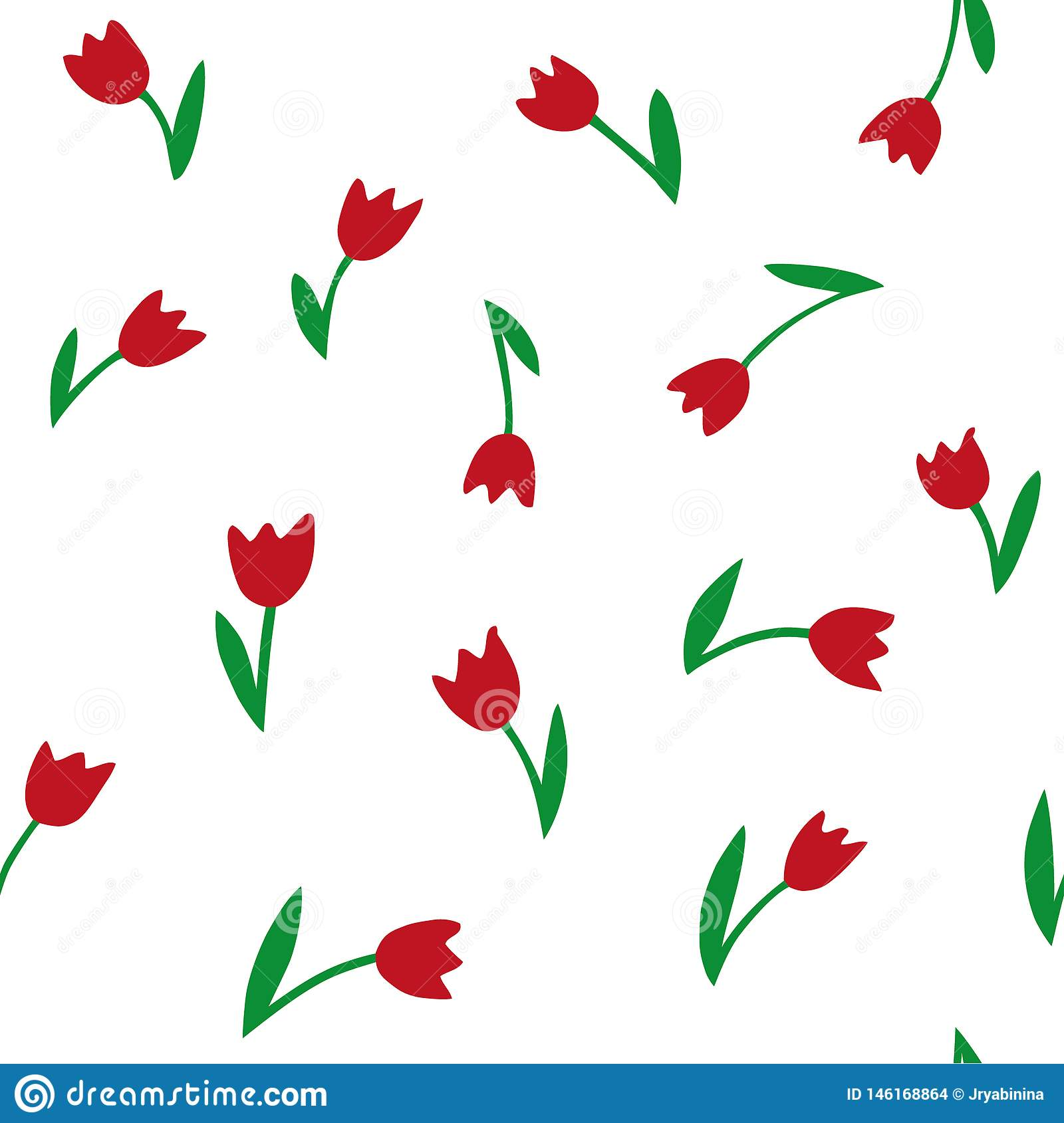 Tulips. Seamless vector pattern. Hand drawing texture