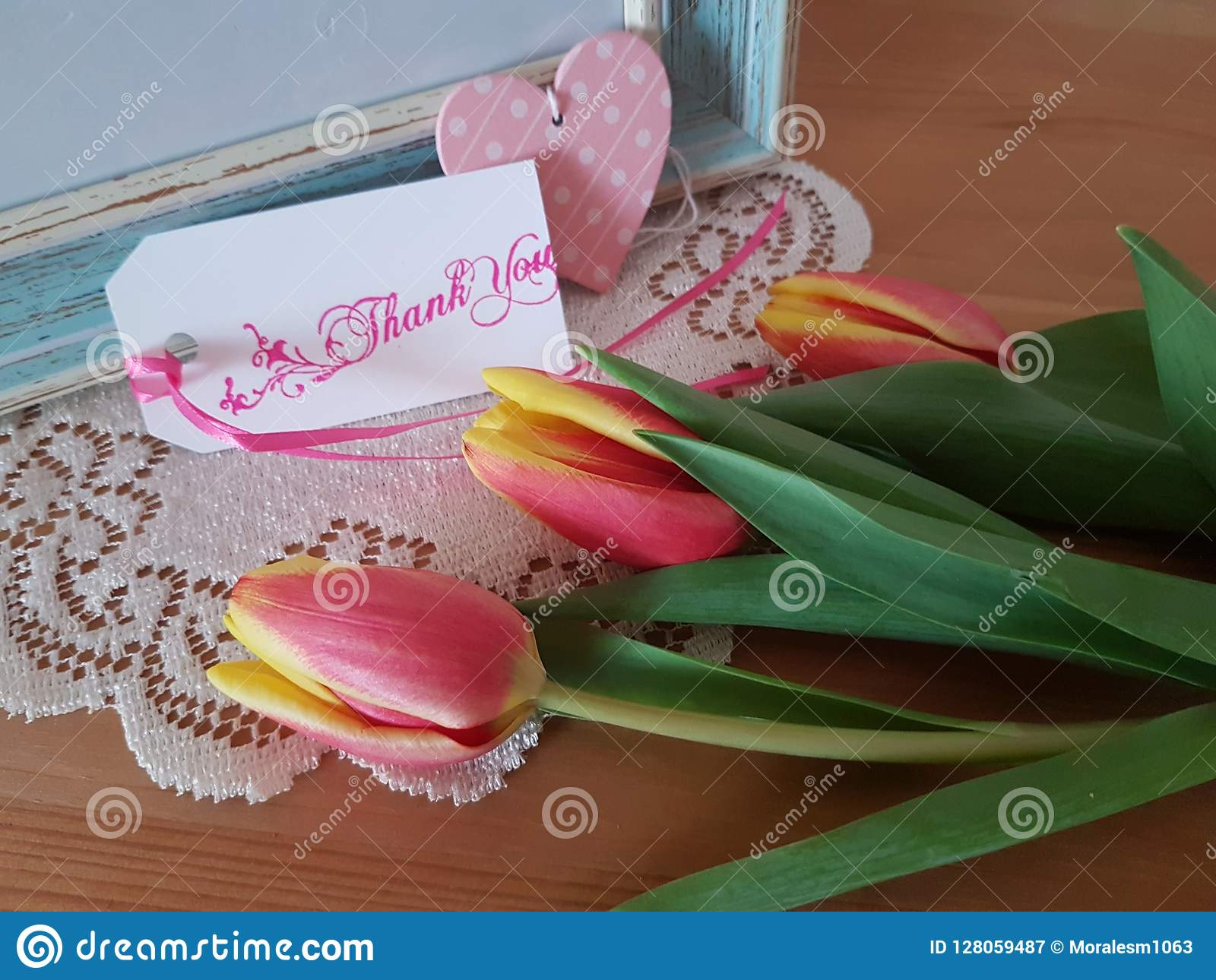 Tulips with Thank You Note stock image  Image of ribbon - 128059487
