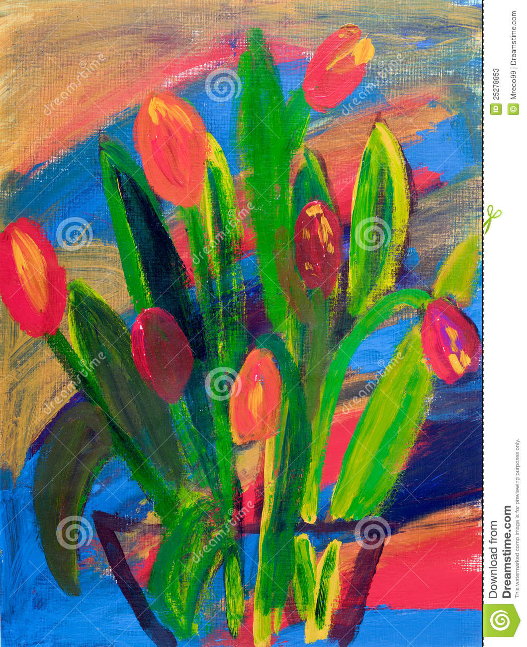 Tulips In A Vase Painting In Acrylic Stock Photos Image