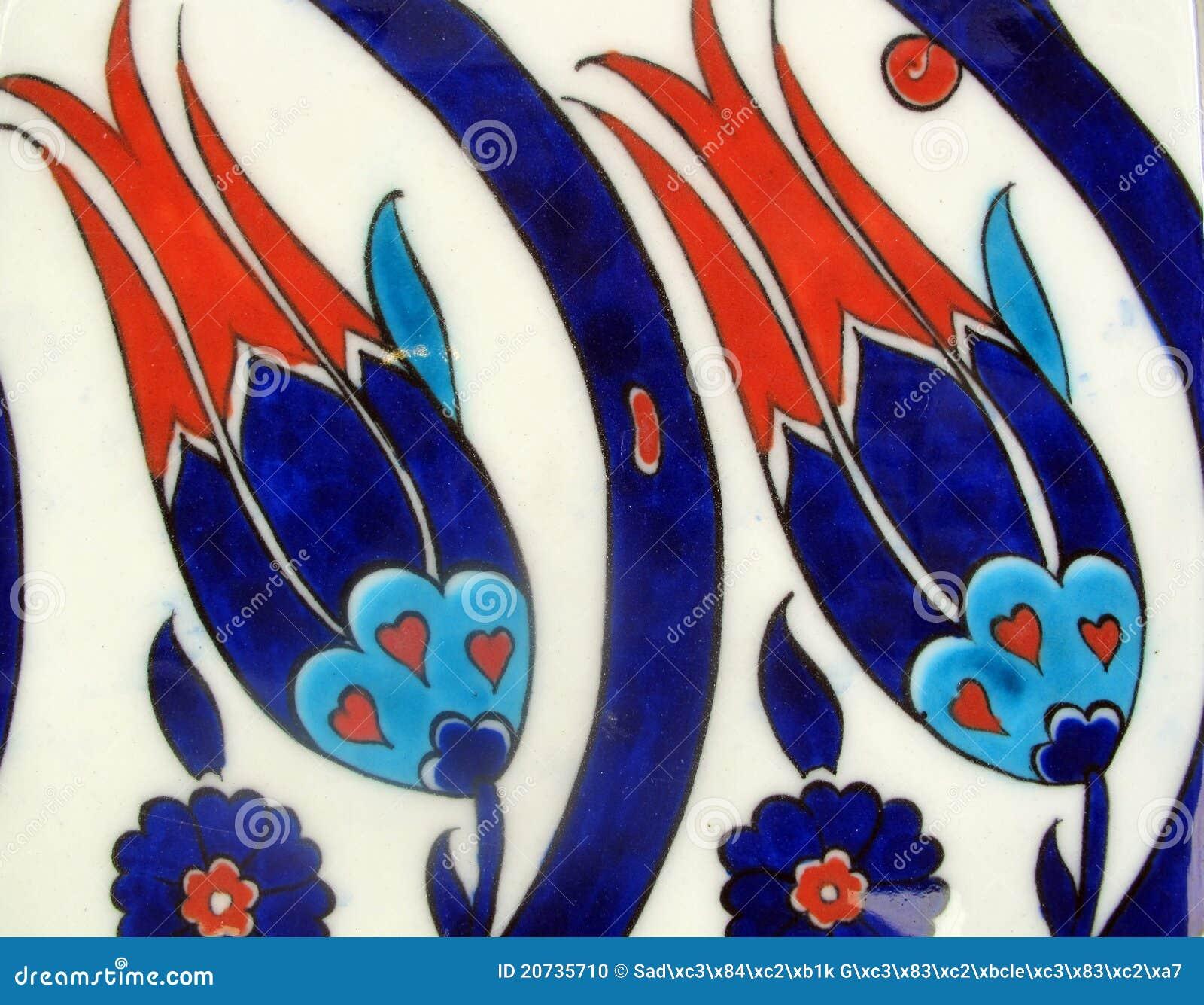 Türkische Fliesen Tulpeauslegung Stockfoto Bild Von Grün - Fliesen auf türkisch