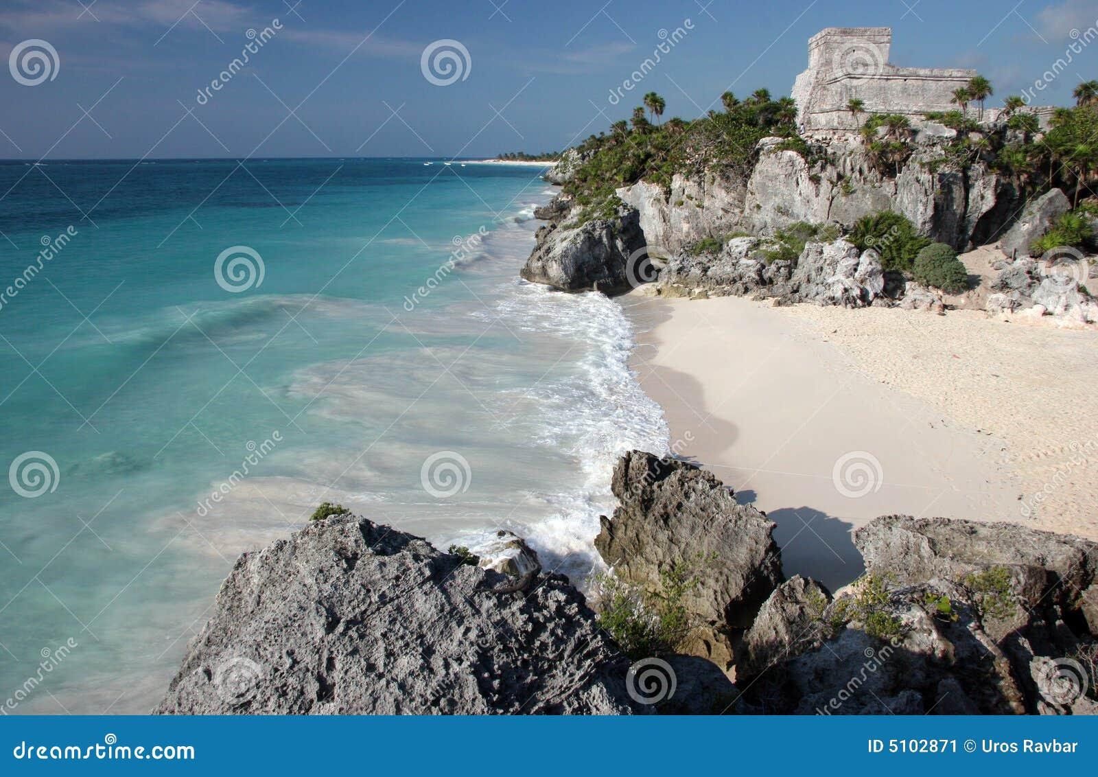 Tulum ruins with sandy beach