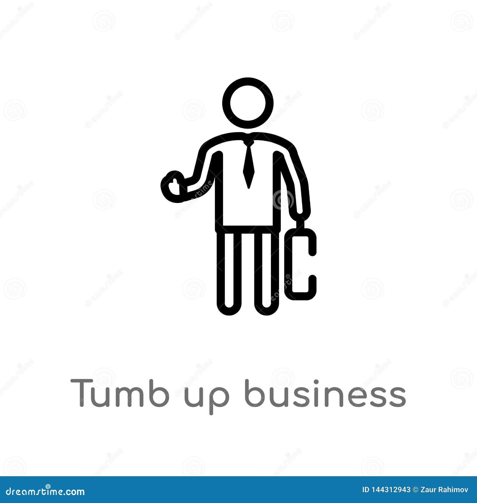 Tumb плана вверх по значку вектора бизнесмена изолированная черная простая линия иллюстрация элемента от концепции людей r