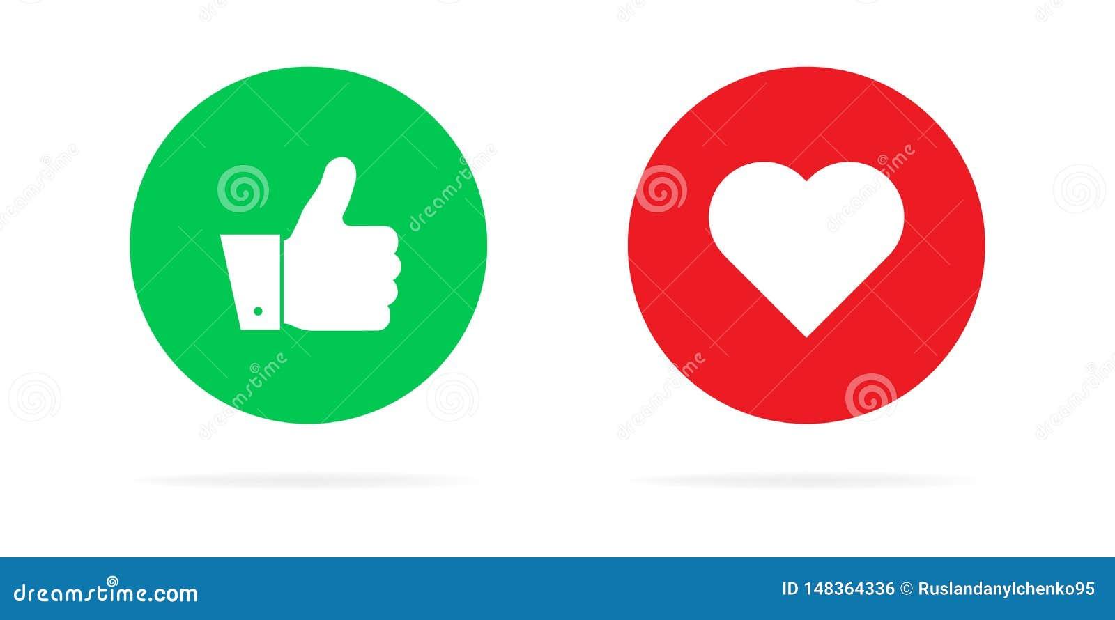 Tummar upp och hj?rtor p? en vit bakgrund Vektorillustration av sinnesr?relser För sociala nätverk och annonsering