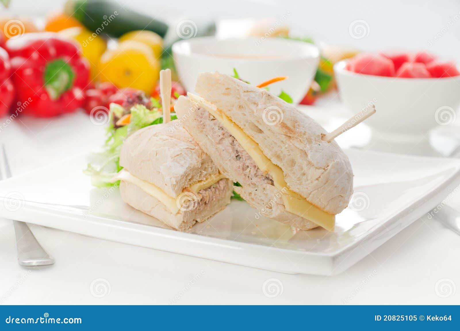 Raw Gazpacho Soup Tuna And Cheese Sandwi...