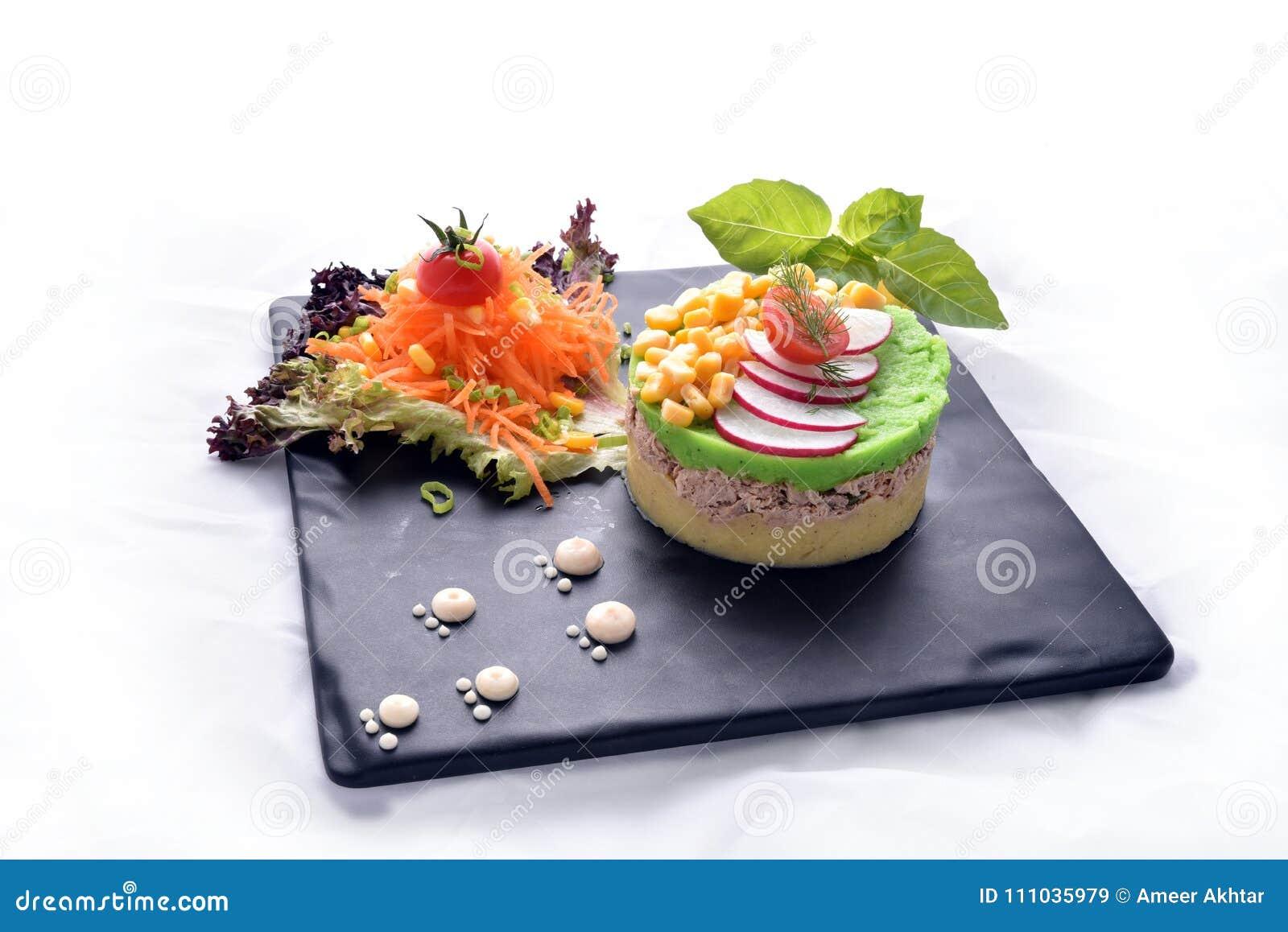 Tuna Fish With Mashed Potatoes & Salads- Healthy Meal Stock