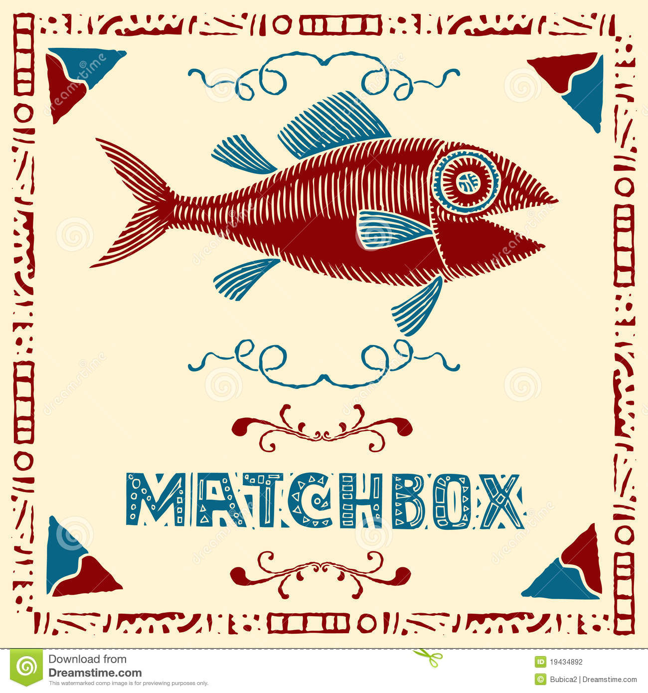 Tuna fish matchbox label stock vector. Illustration of meal - 19434892