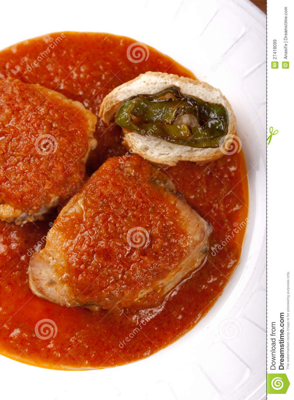 Tuna Fish In Tomato Sauce With Pepper And Bread Royalty Free Stock ...
