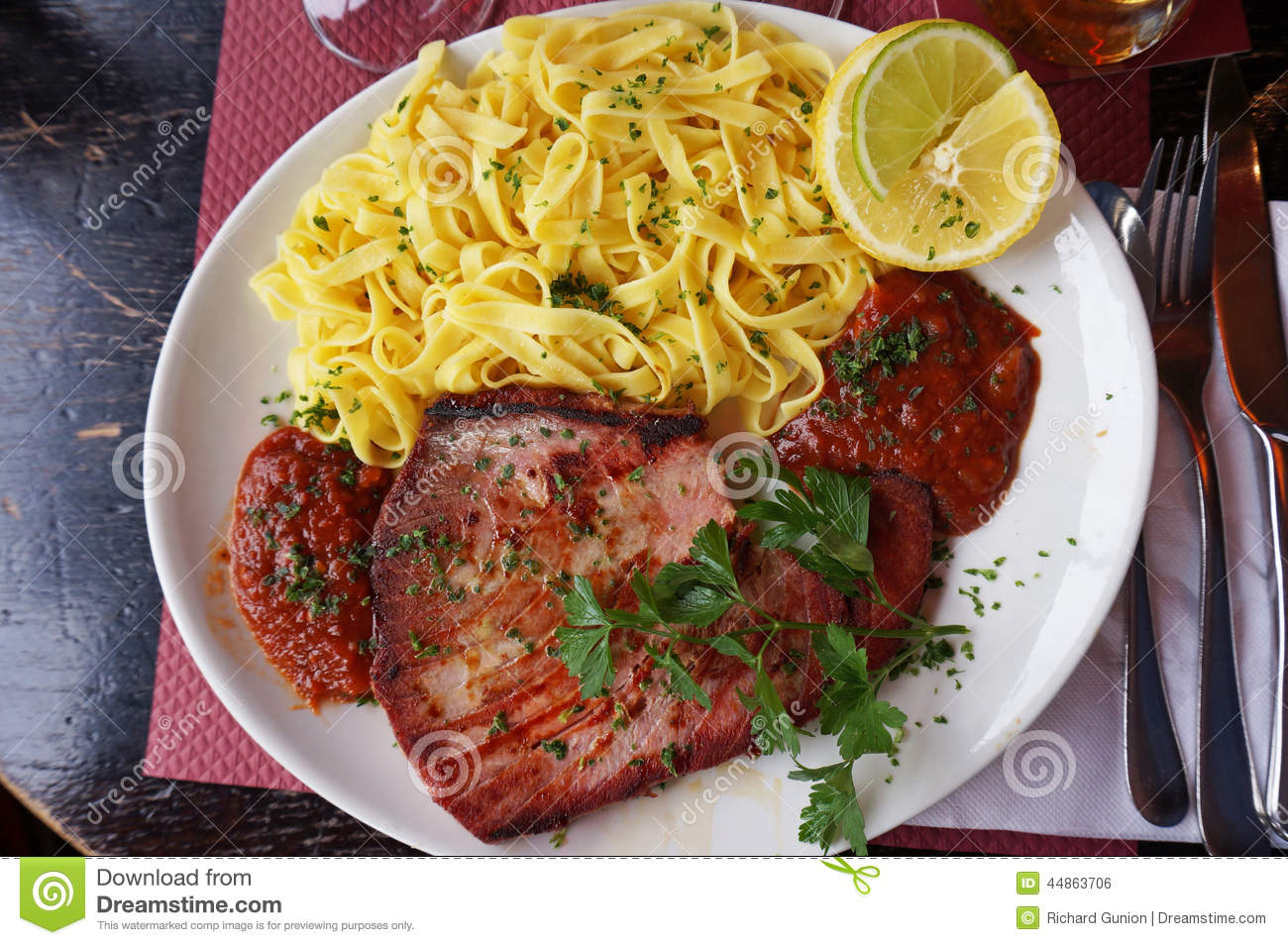 Tuna with pasta and sauce stock photo image of paris for Restaurant cuisine francaise paris
