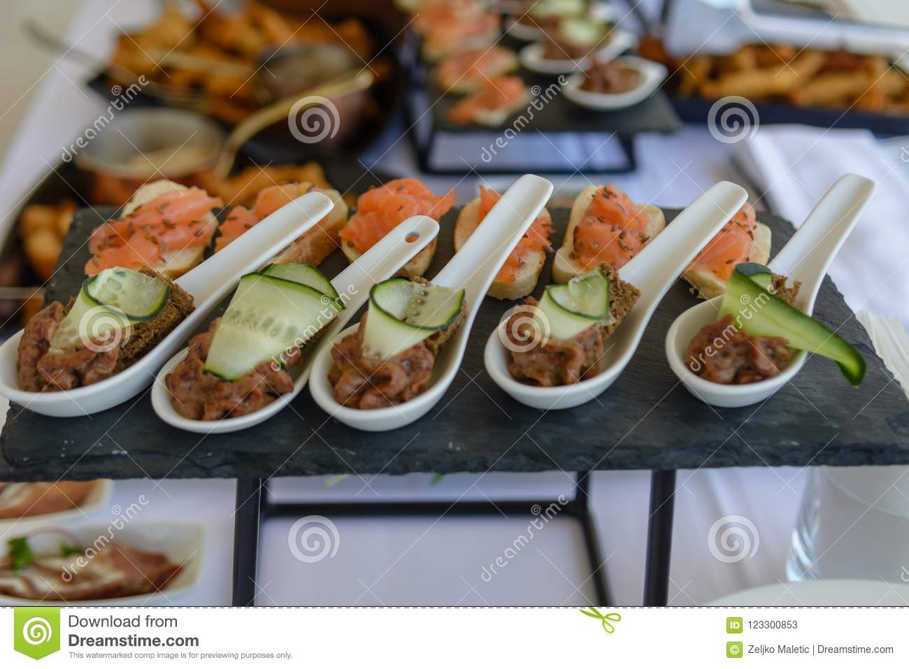 Tuna Pate In White Spoon Stock Image Image Of Cucumber 123300853