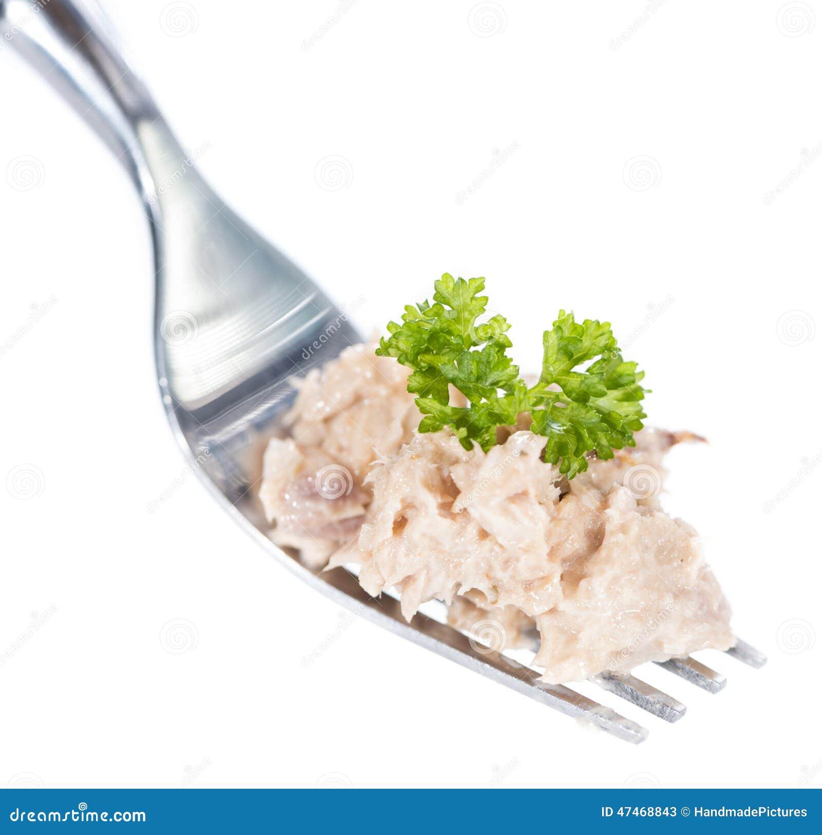 Tuna Salad på en gaffel (som isoleras på vit)