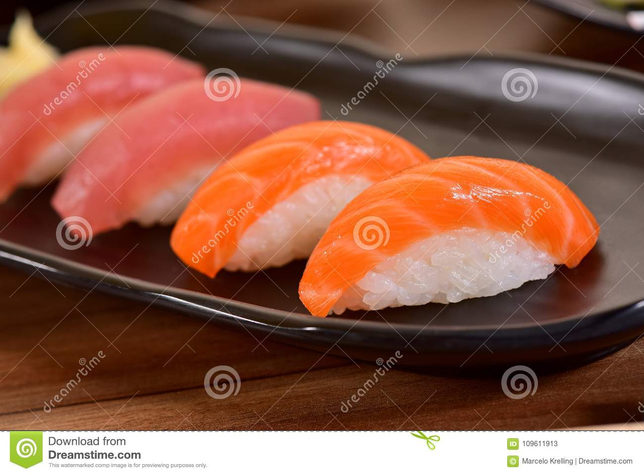 Tuna And Salmon Nigiri Sushi Stock Image Image Of Dish Background 109611913