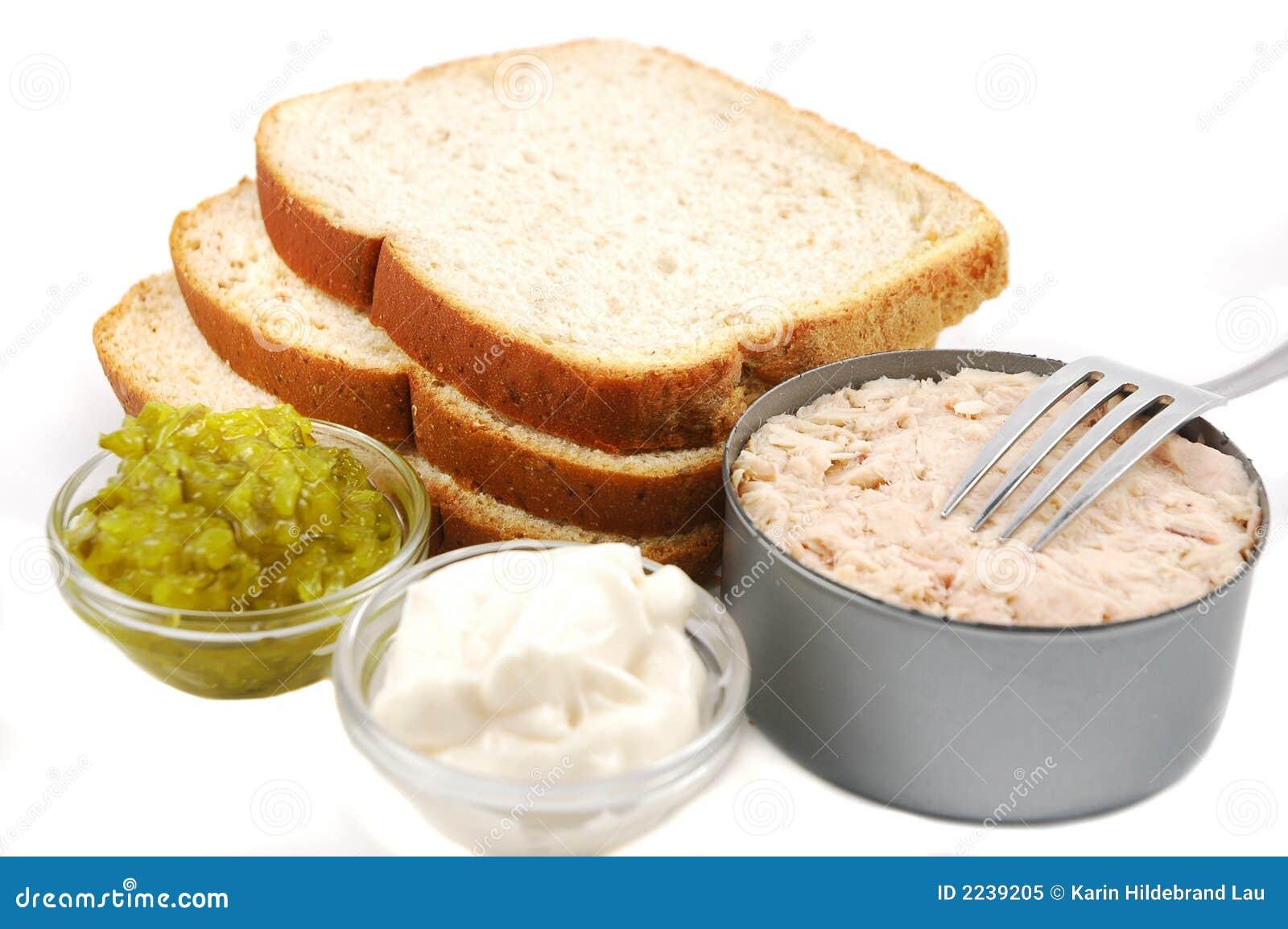 Tuna sandwich ingredients royalty free stock photo image for Making tuna fish