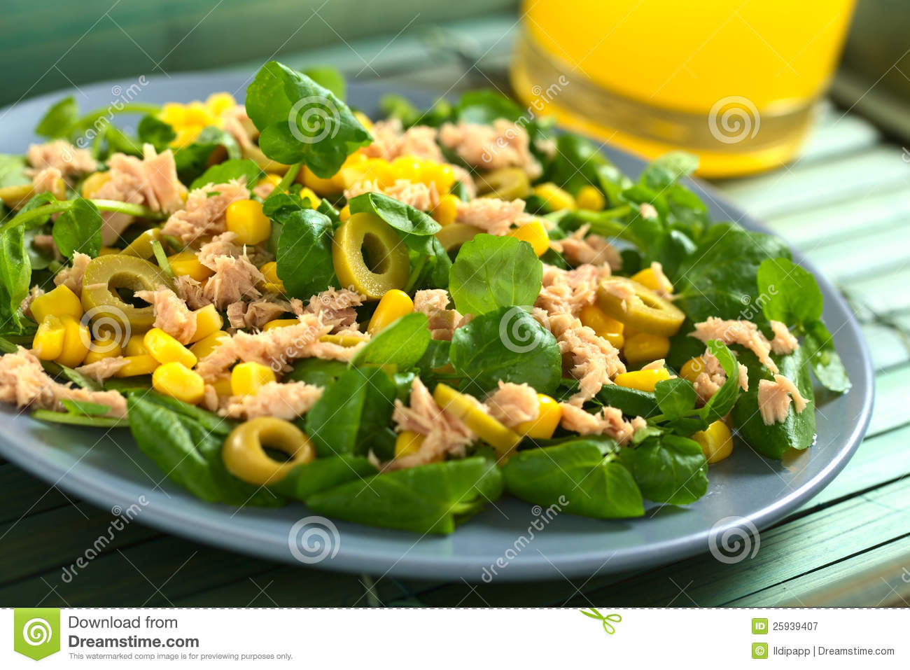 Tuna, Sweetcorn And Olive Salad Royalty Free Stock Photography - Image ...