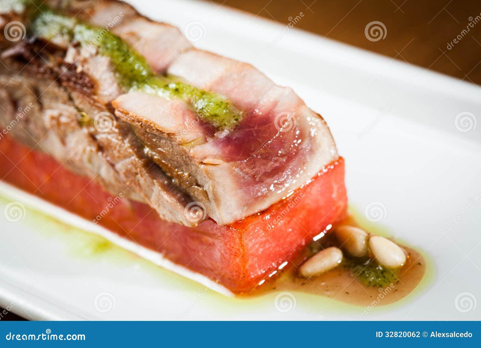 Tuna Tataki Roll Tuna tataki with watermelon,