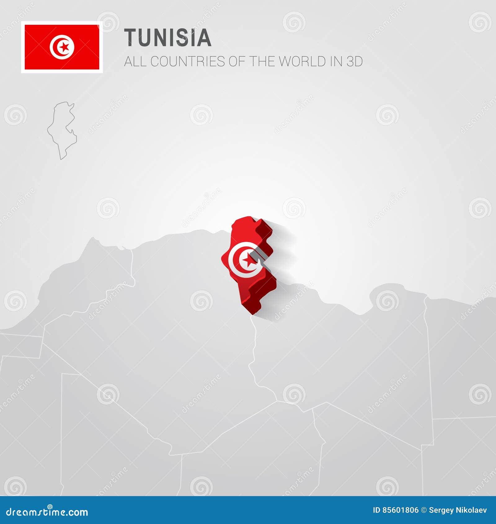 Tunesien Karte Welt.Tunesien Gezeichnet Auf Graue Karte Vektor Abbildung Illustration