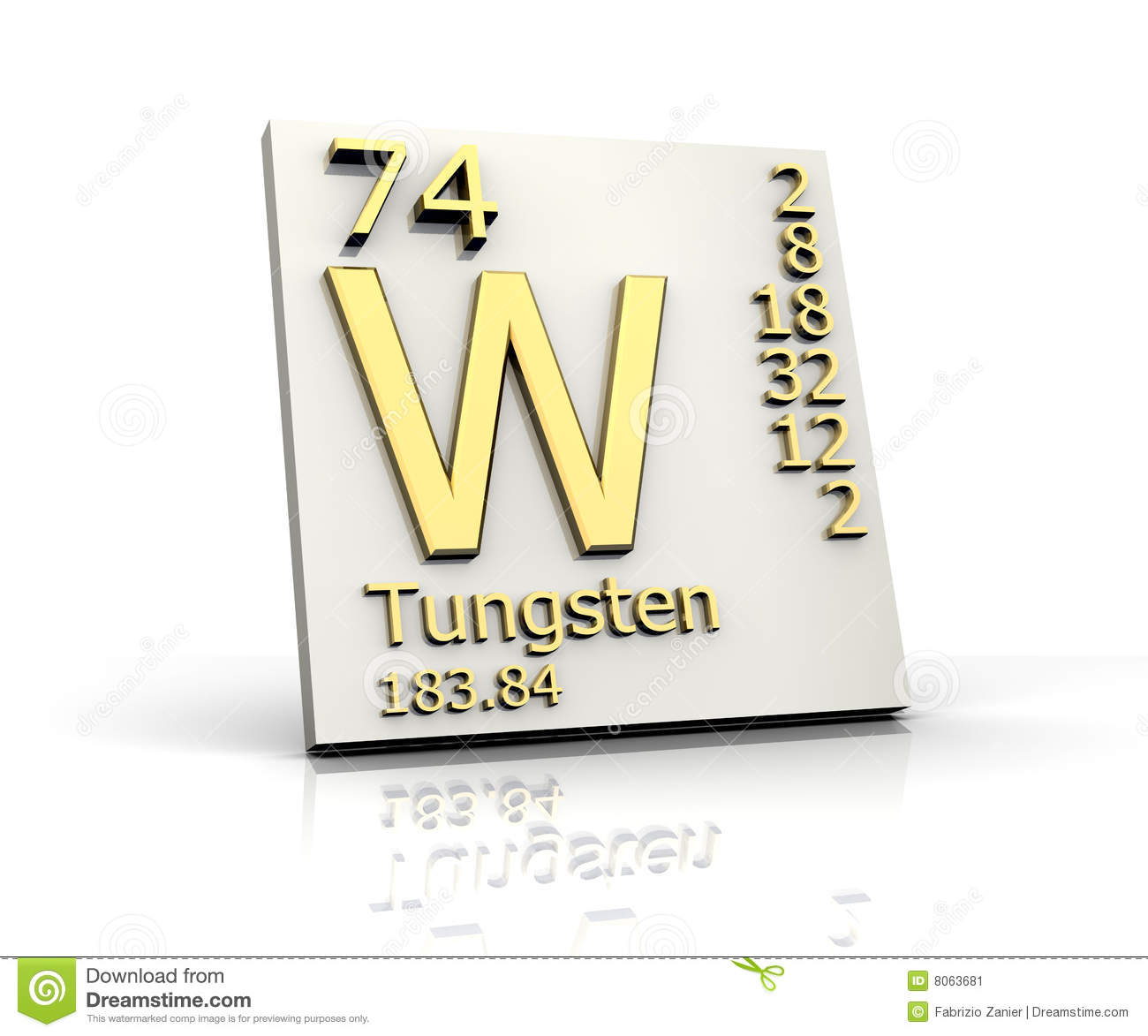 Tungsten form periodic table of elements stock image - Tungsten symbol periodic table ...