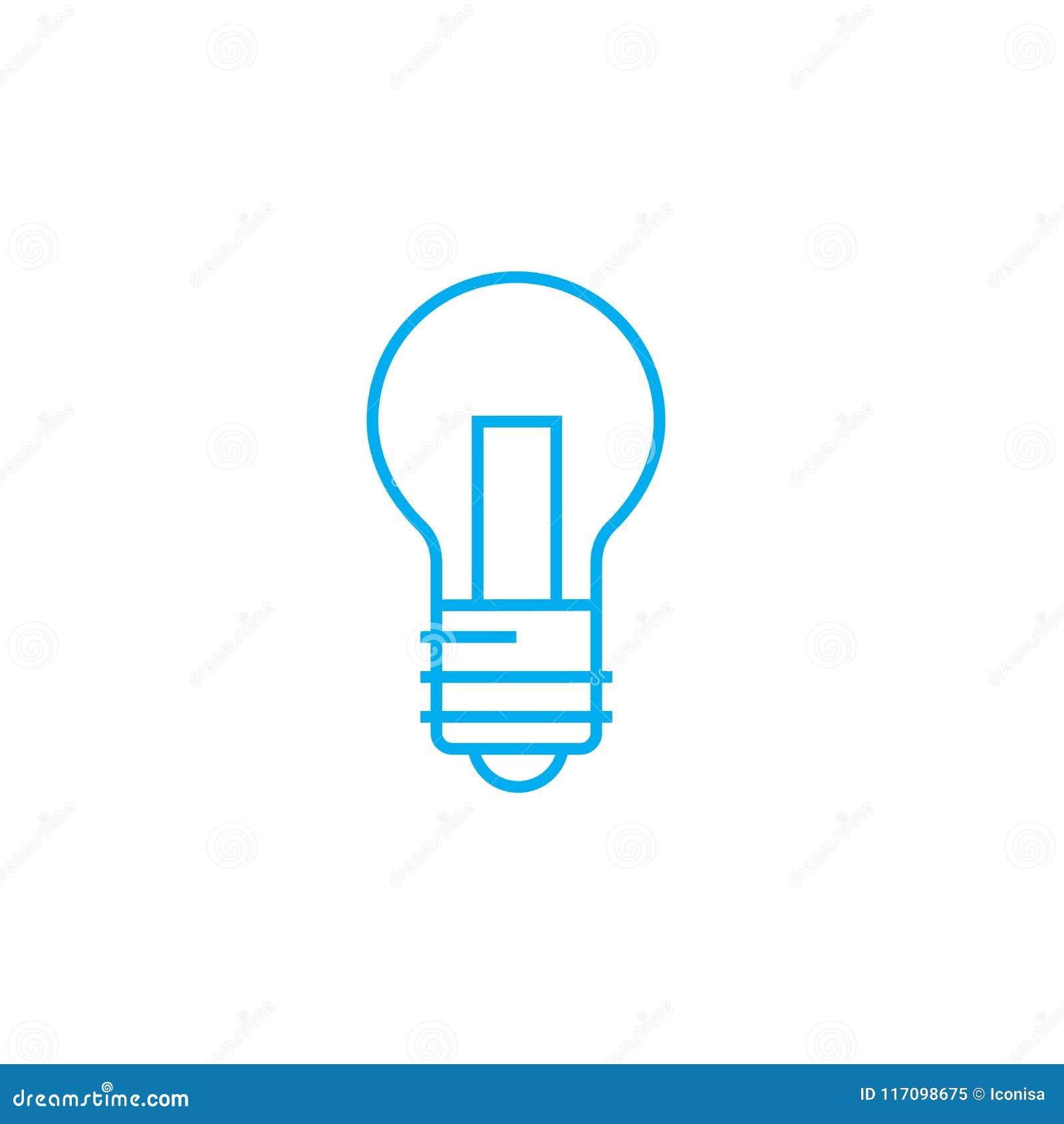 Tungsten Lamp Linear Icon Concept Tungsten Lamp Line Vector Sign