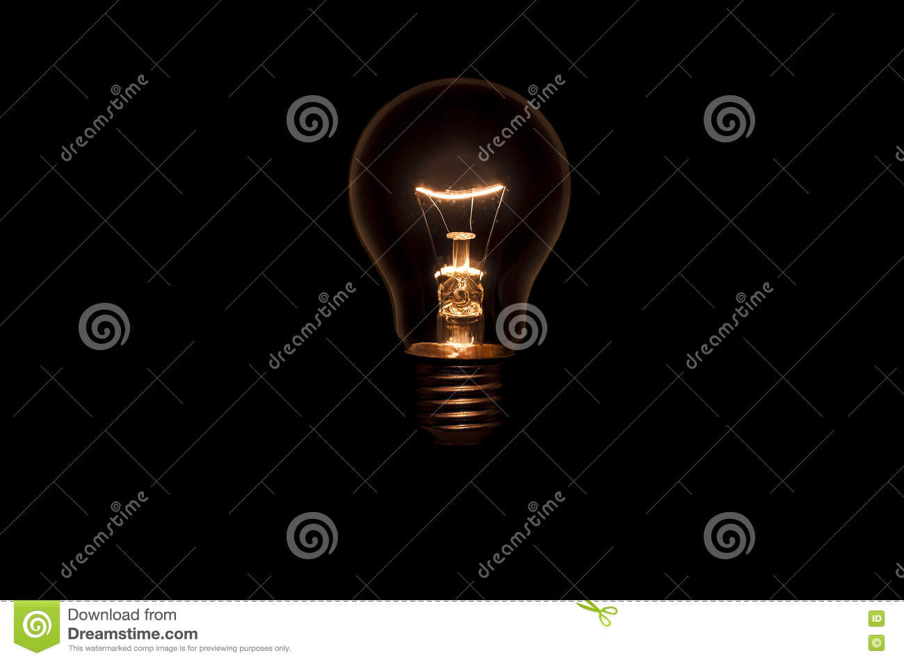 Tungsten Light Bulb On Black Background Stock Photo Image Of Wiring A Outlet From Fixture Without And Socket Concept For Creative Idea
