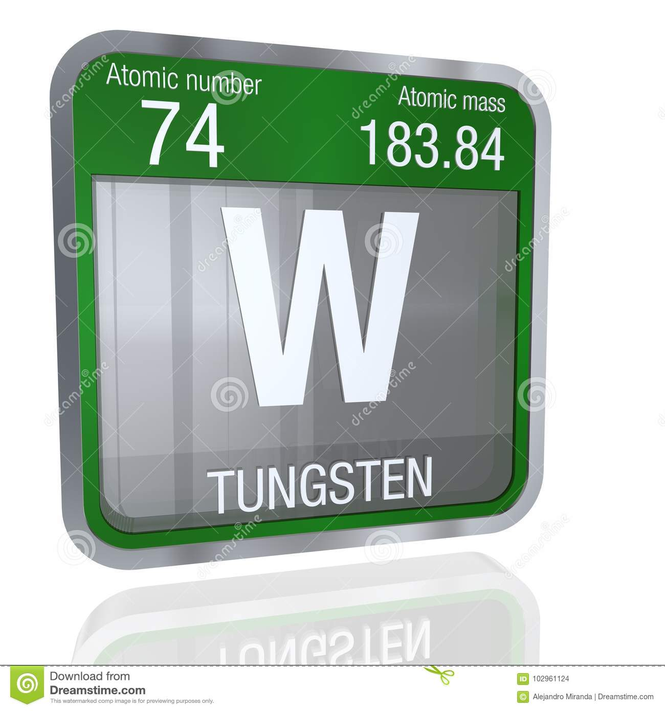 Tungsten Symbol In Square Shape With Metallic Border And Transparent