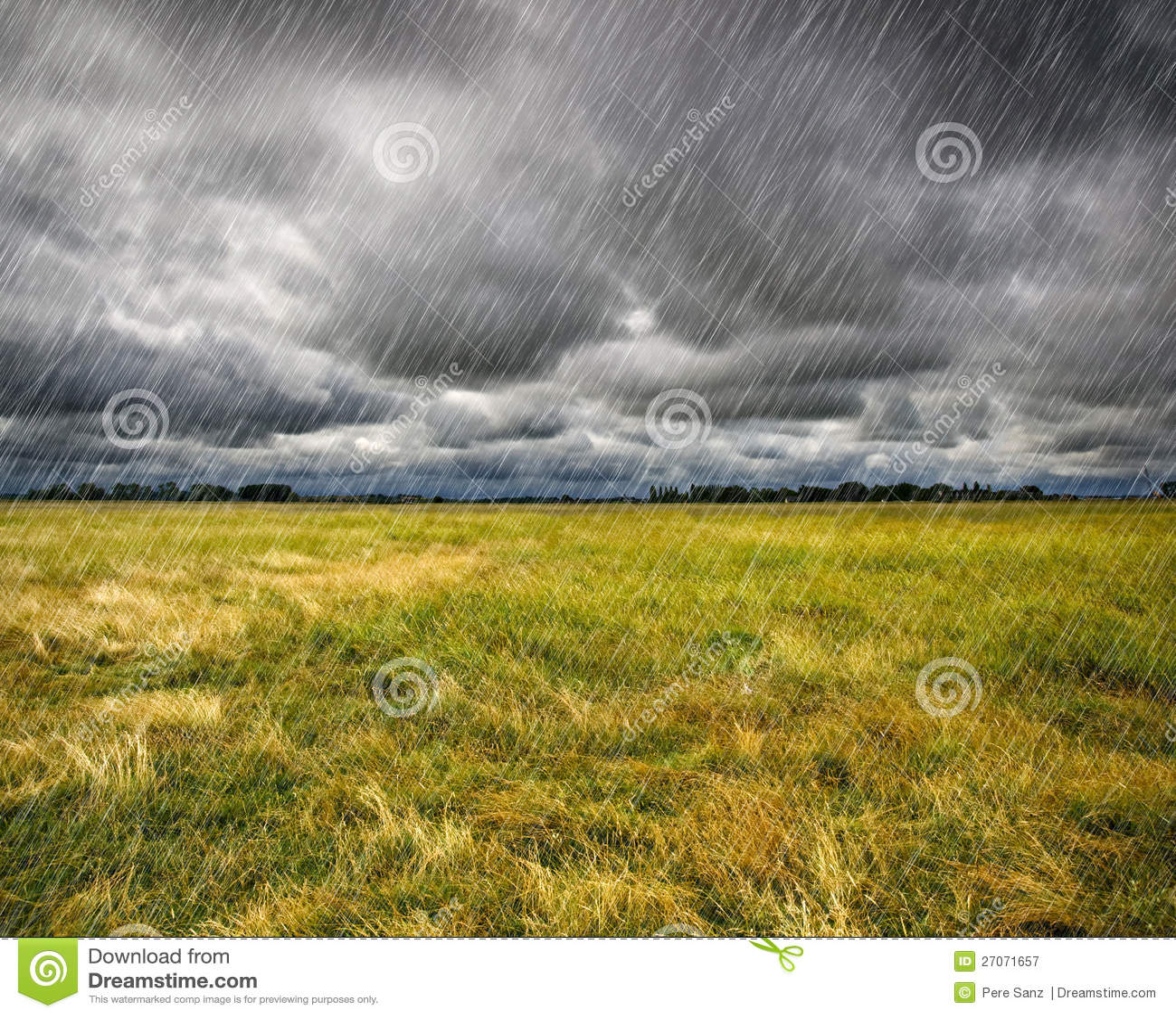 Tungt regn över en prärie