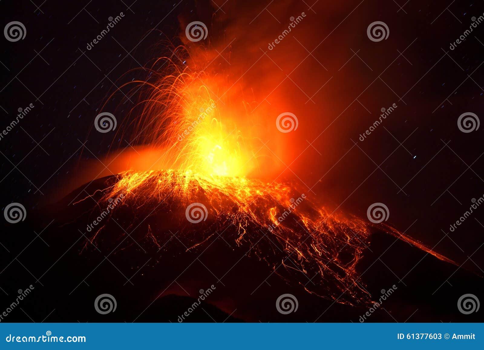Tungurahua Volcano Powerful Night Eruption