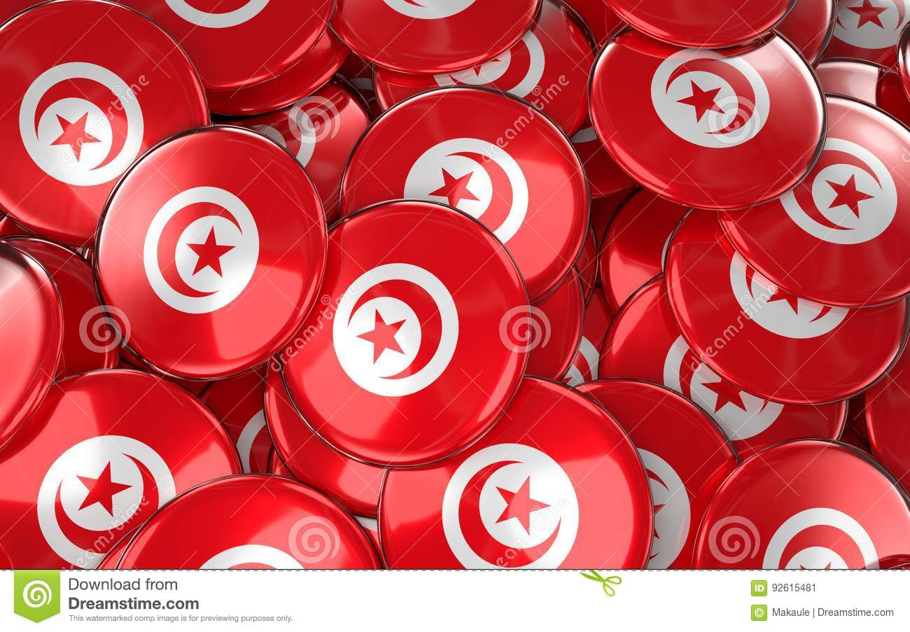 Tunisia Badges Background - Pile of Tunisian Flag Buttons.