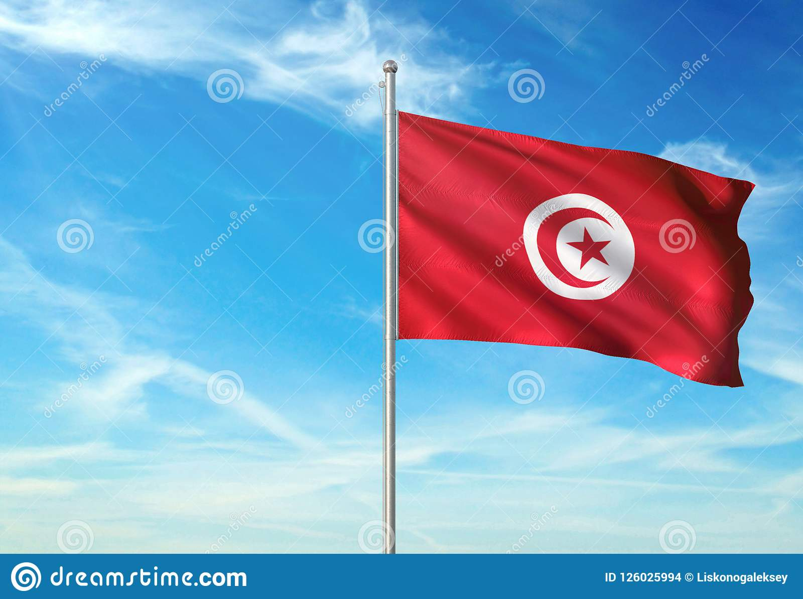 Tunisia Flag Waving With Sky On Background Realistic 3d Illustration