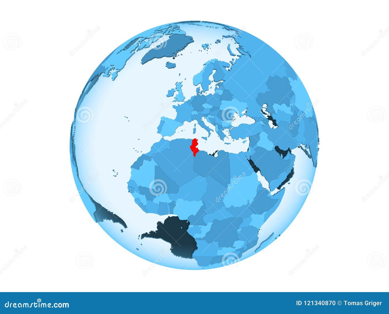 Picture of: Tunisia On Blue Globe Isolated Stock Illustration Illustration Of Blue Symbol 121340870