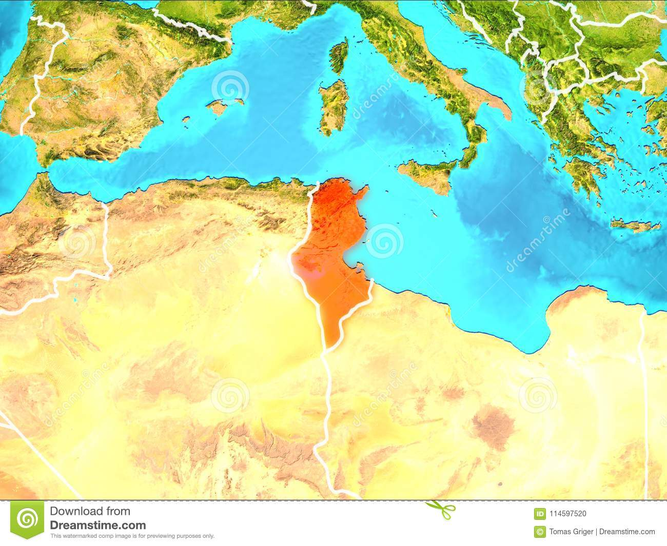 Picture of: Map Of Tunisia Stock Illustration Illustration Of Political 114597520