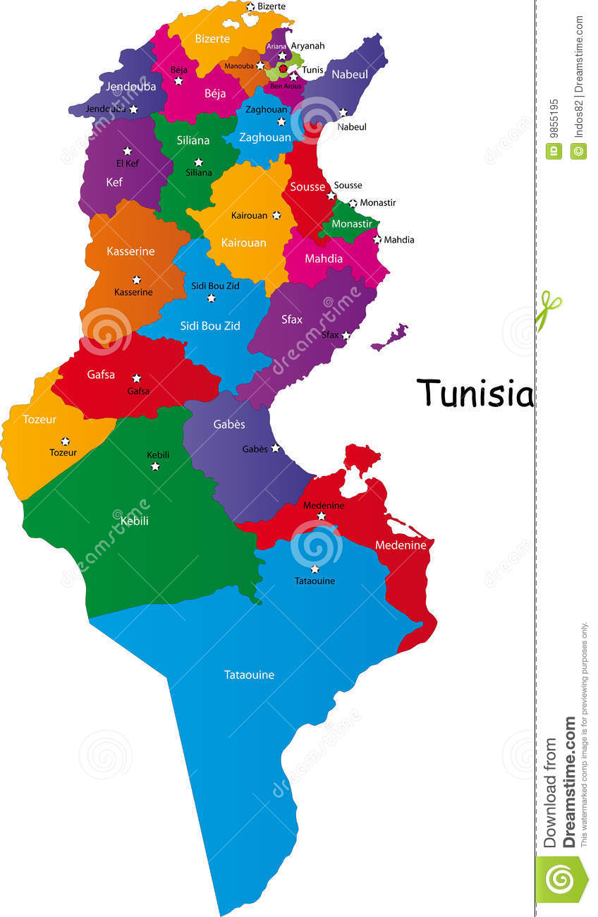 Tunisia Map Stock Vector Image Of National Outline Abstract - Map of tunisia