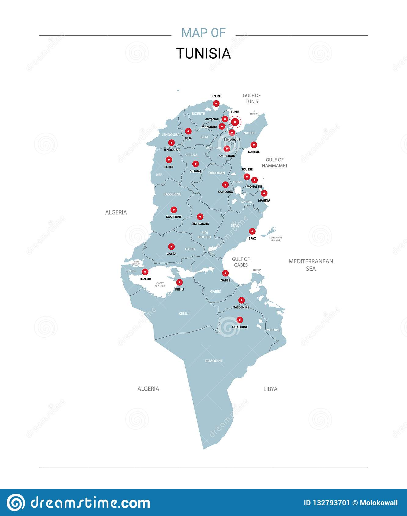Tunisia Map Vector With Red Pin Stock Vector - Illustration ...