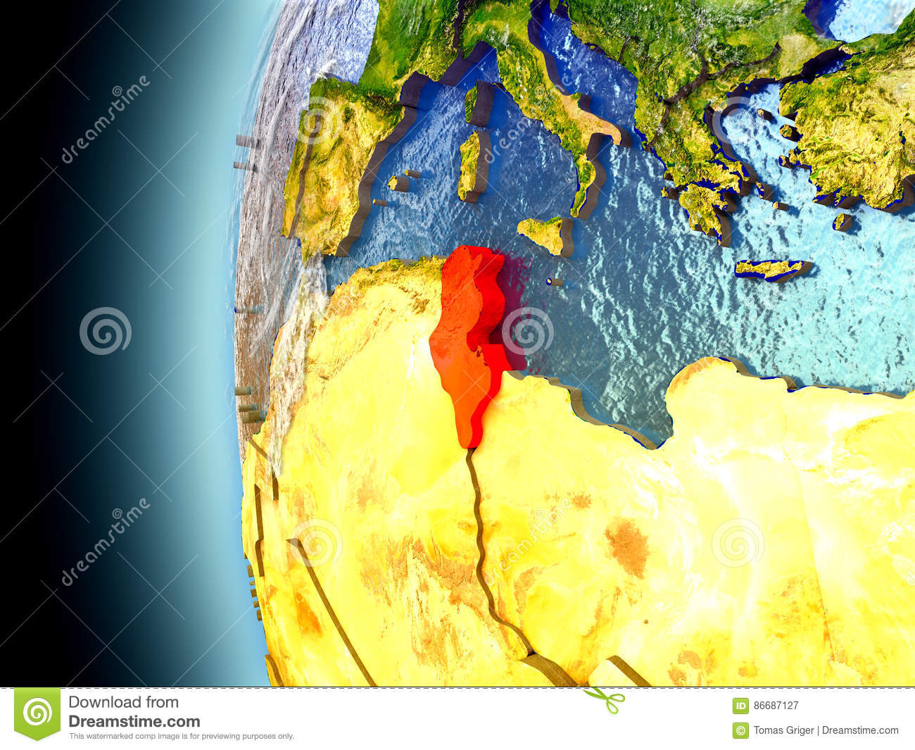 Tunisia On Planet Earth From Space Stock Illustration Image - Tunisia earth map