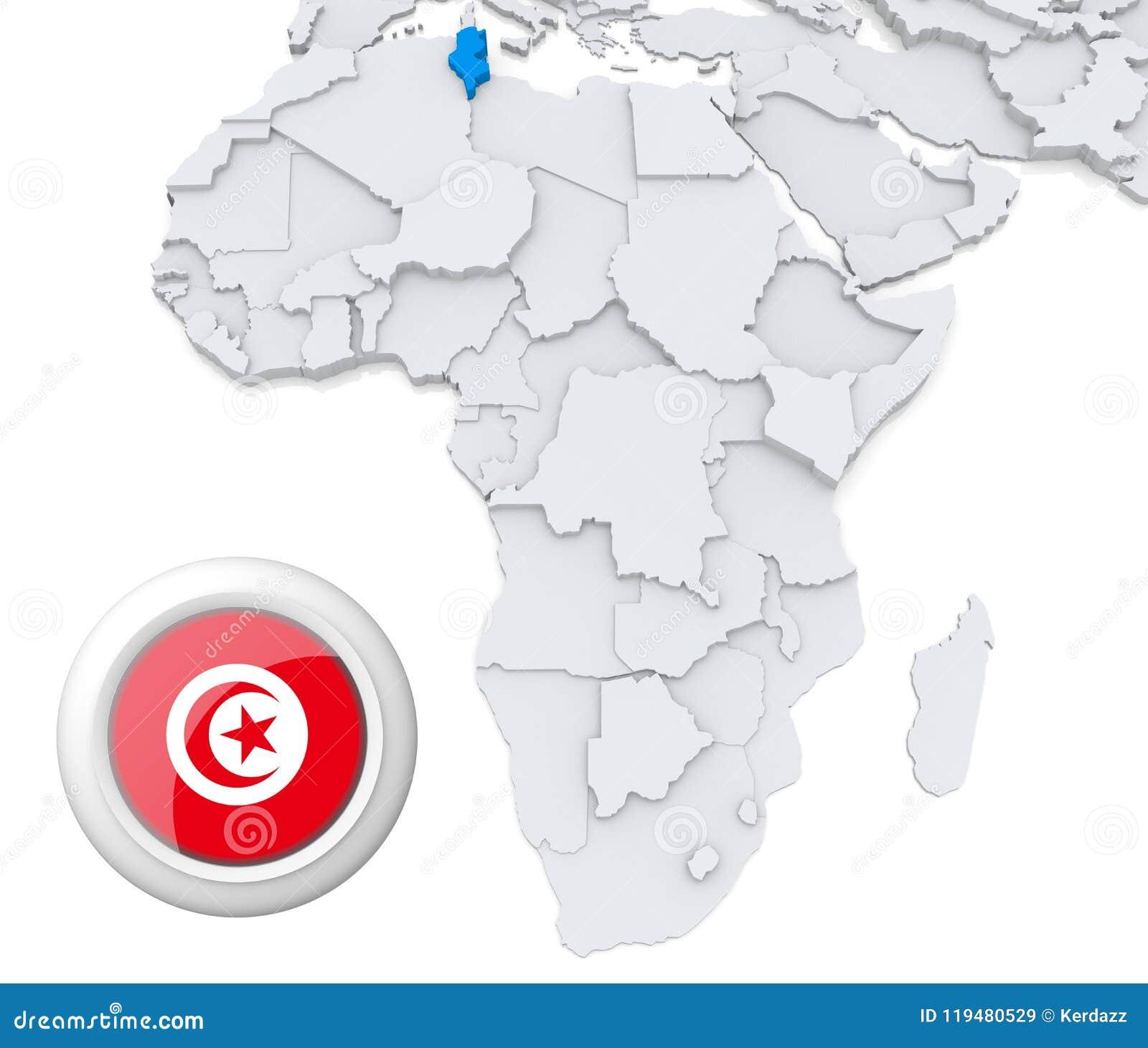 Tunisia on Africa map stock illustration. Illustration of graphic ...