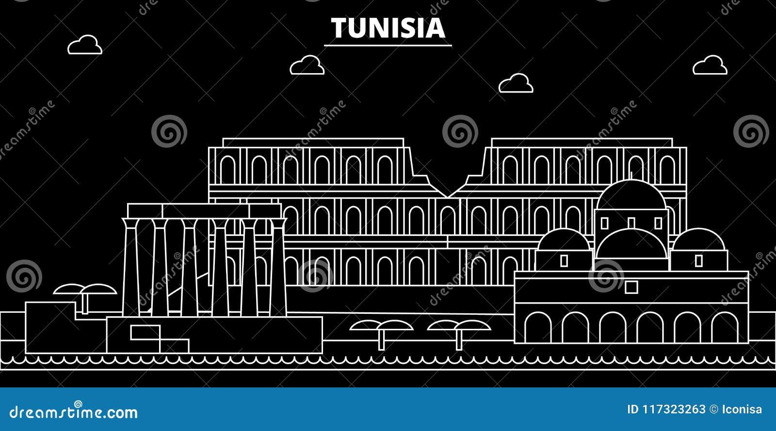 Tunisien konturhorisont, vektorstad, tunisian linjär arkitektur, byggnader Tunisien loppillustration, översikt