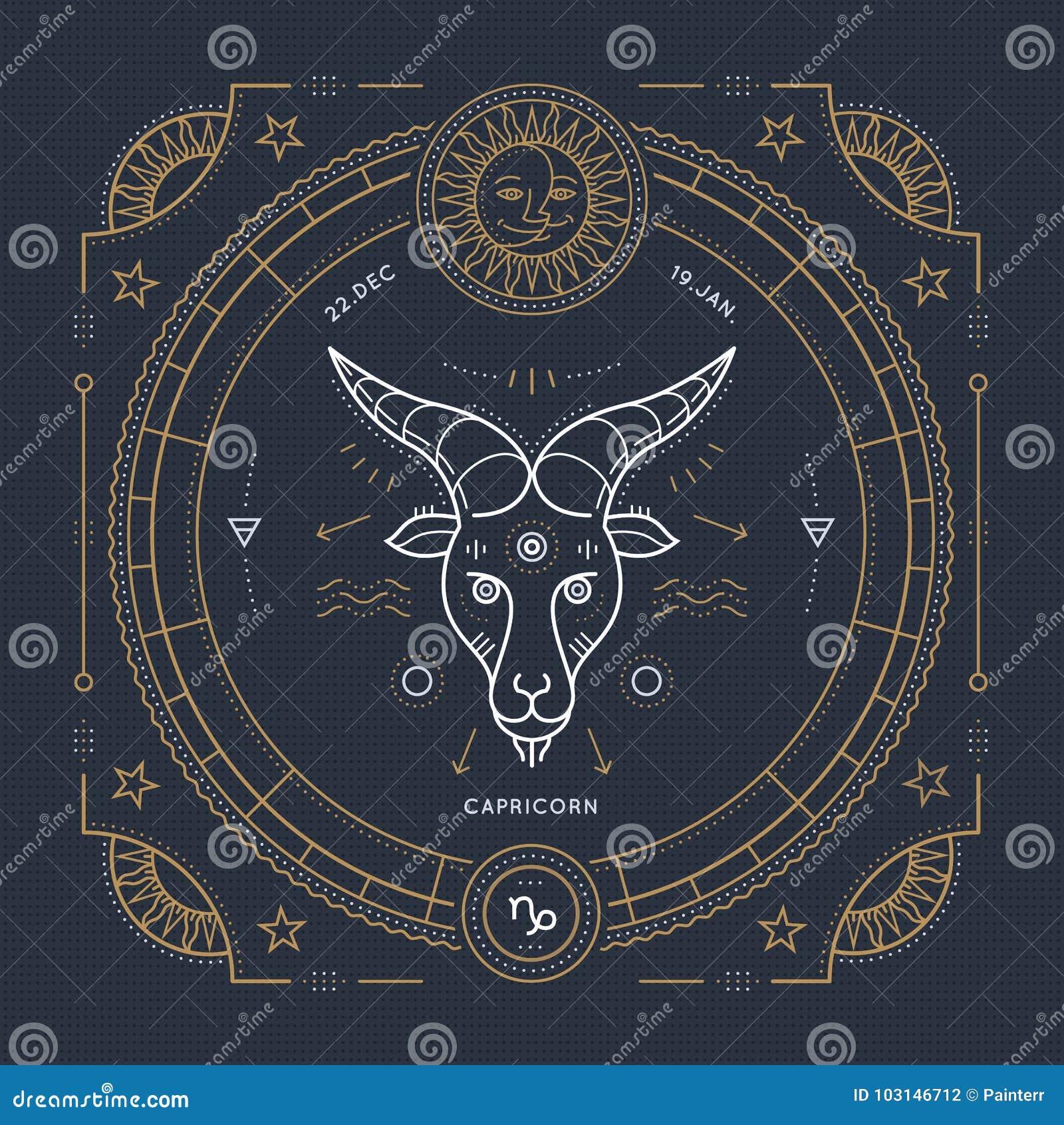 Tunn linje etikett för tappning för Stenbockenzodiaktecken Astrologiskt symbol för Retro vektor, mystiker, sakral geometribestånd
