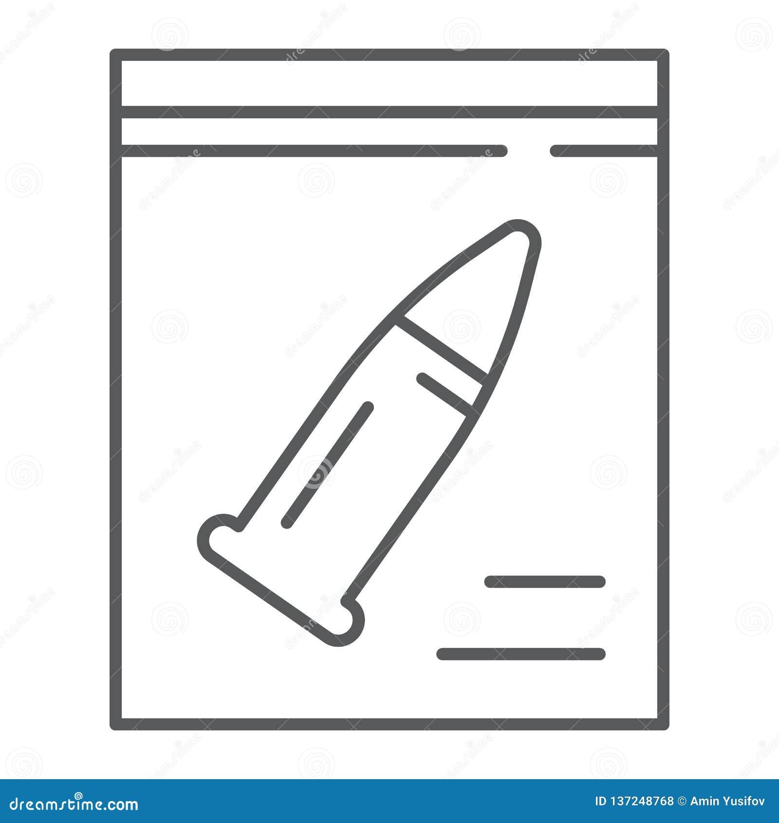 Tunn linje för tecken symbol, utredning och brottsligt, kulteckentecken, vektordiagram, en linjär modell på ett vitt