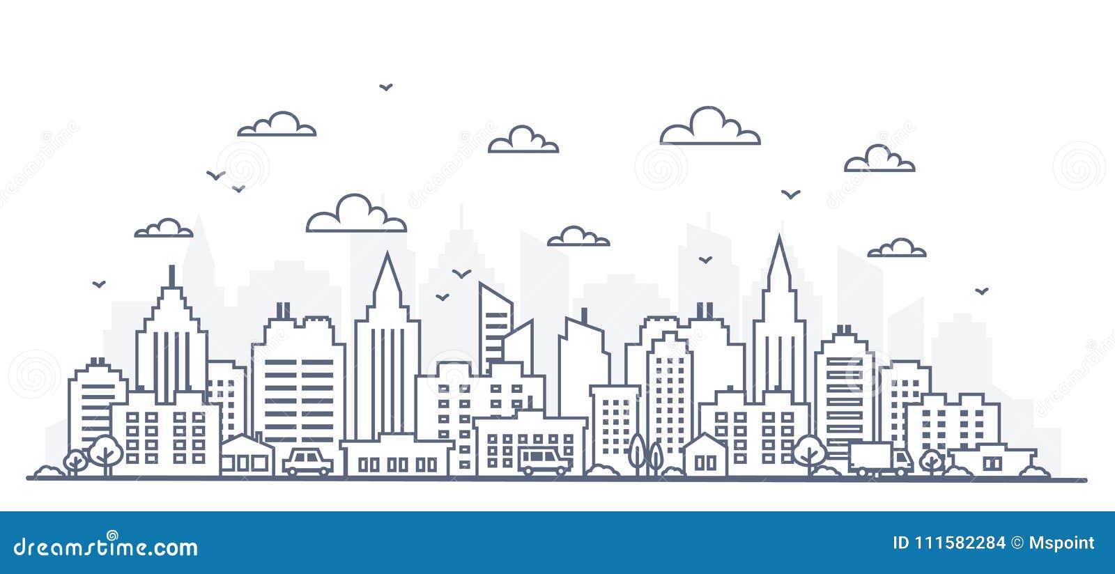 Tunn linje stilstadspanorama Illustration av den stads- landskapgatan med bilar, horisontstadskontorsbyggnader, på ljus