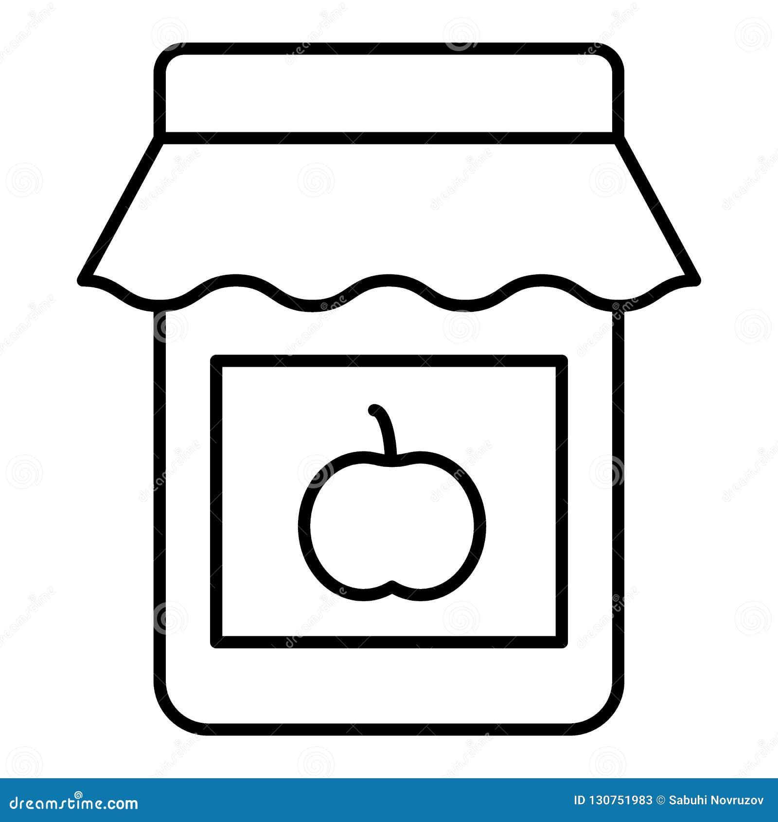 Tunn linje symbol för Apple driftstopp Fruktkonservvektorillustration som isoleras på vit Design för stil för driftstoppkrusövers