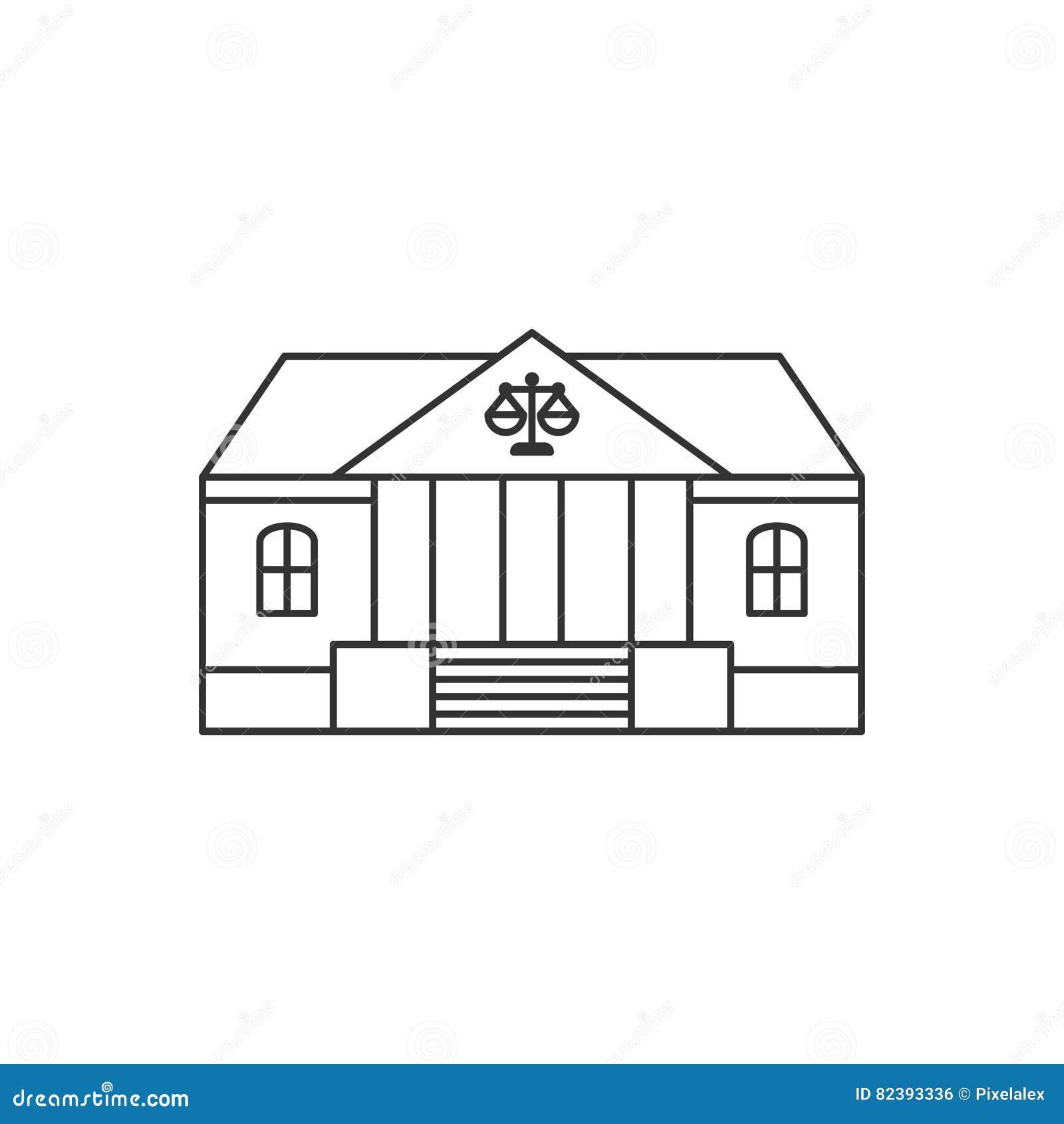 Tunn linje symbol för domstolsbyggnad
