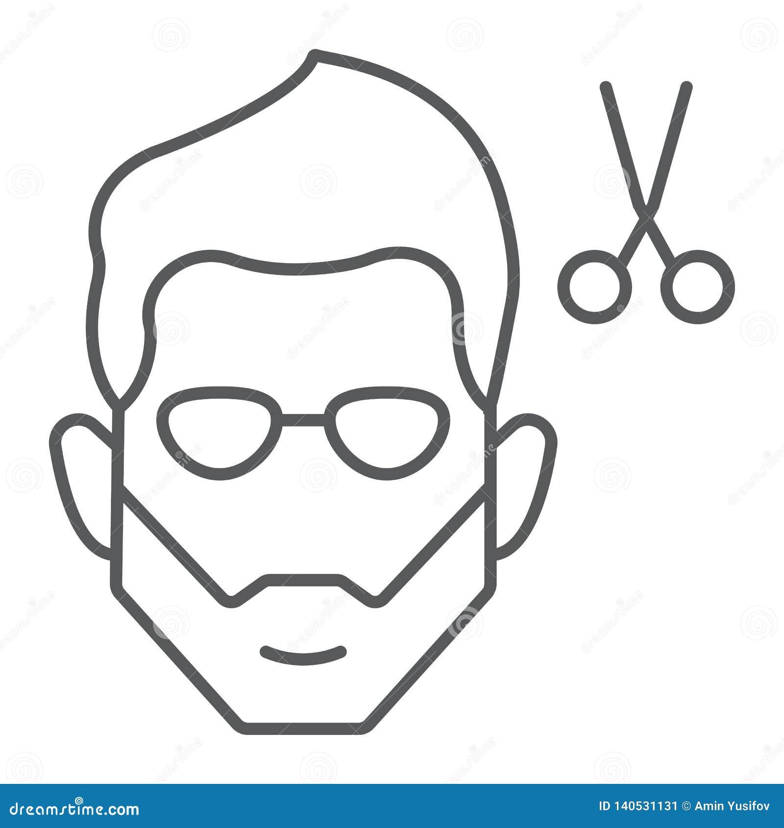 Tunn linje symbol för frisyr, barberare och frisyr, skäggigt framsidatecken, vektordiagram, en linjär modell på en vit bakgrund
