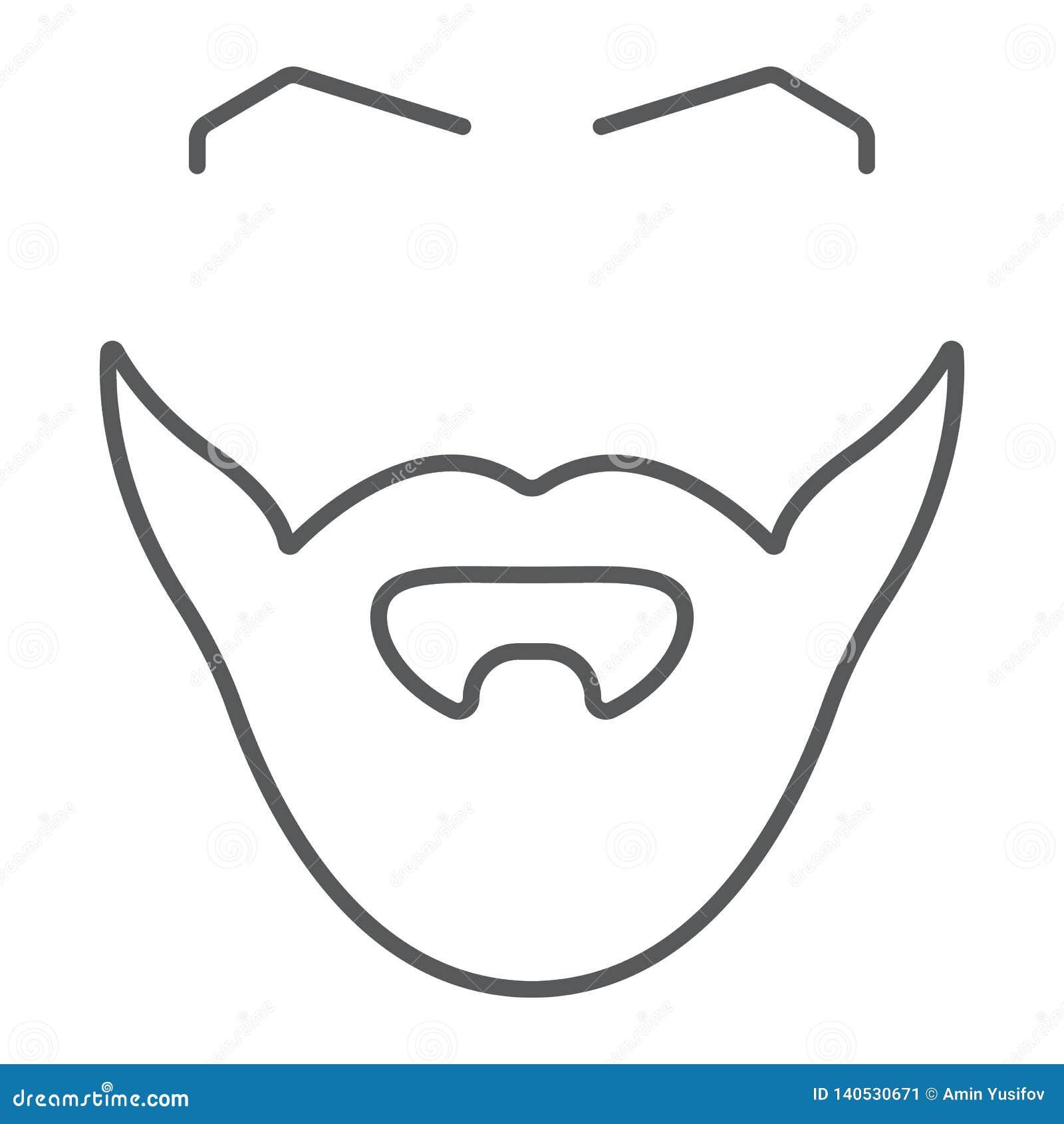 Tunn linje symbol för skägg och för mustasch, barberare och frisyr, manligt hårtecken, vektordiagram, en linjär modell på ett vit