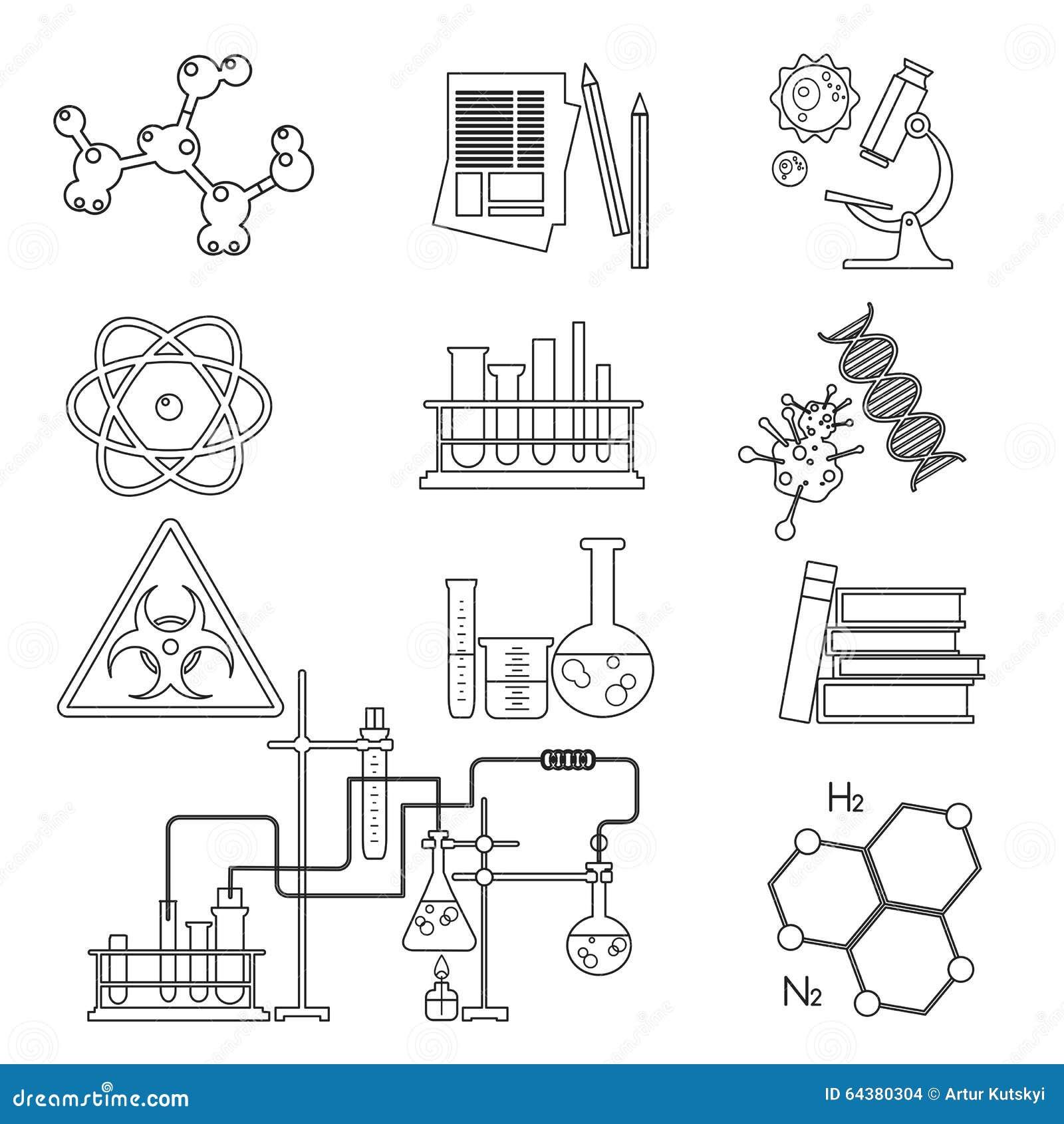 Tunn linje symbolsuppsättning för kemisk laboratoriumvetenskap och teknik Arbetsplatshjälpmedel