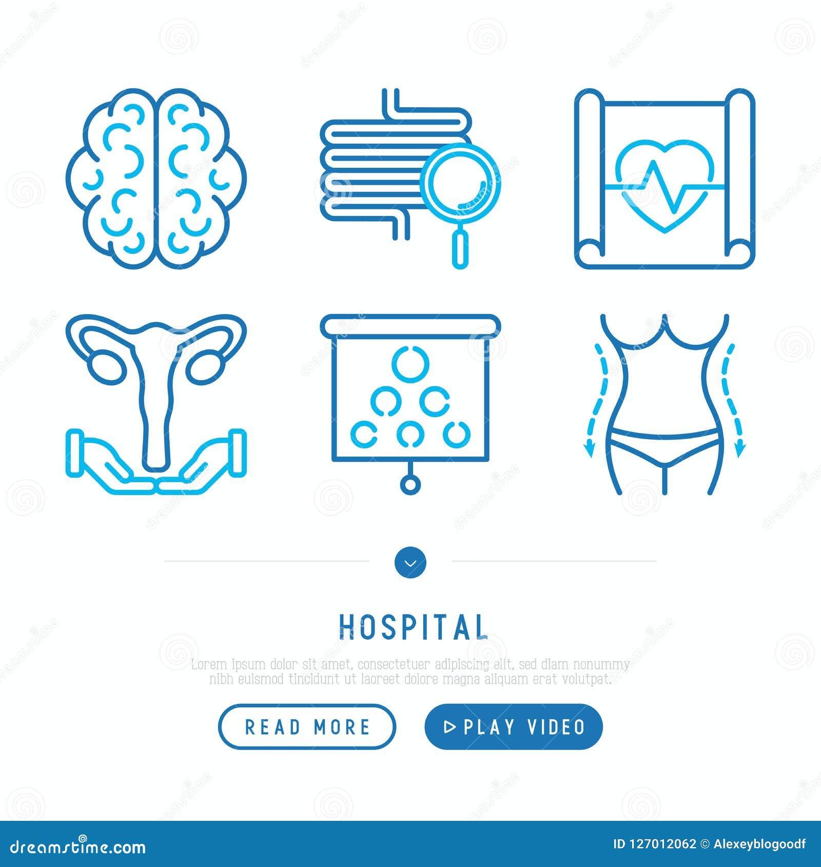 Tunn linje symbolsuppsättning för sjukhus