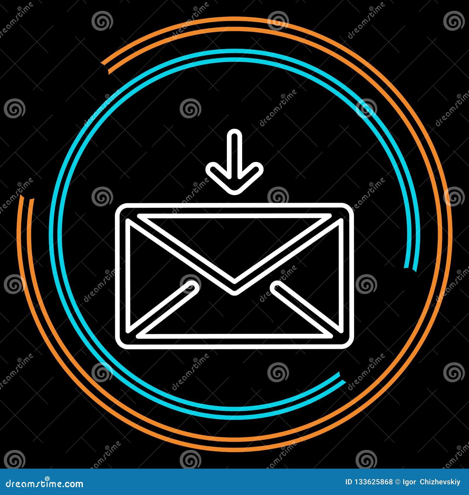 Tunn linje vektorsymbol för enkel kuvertpost