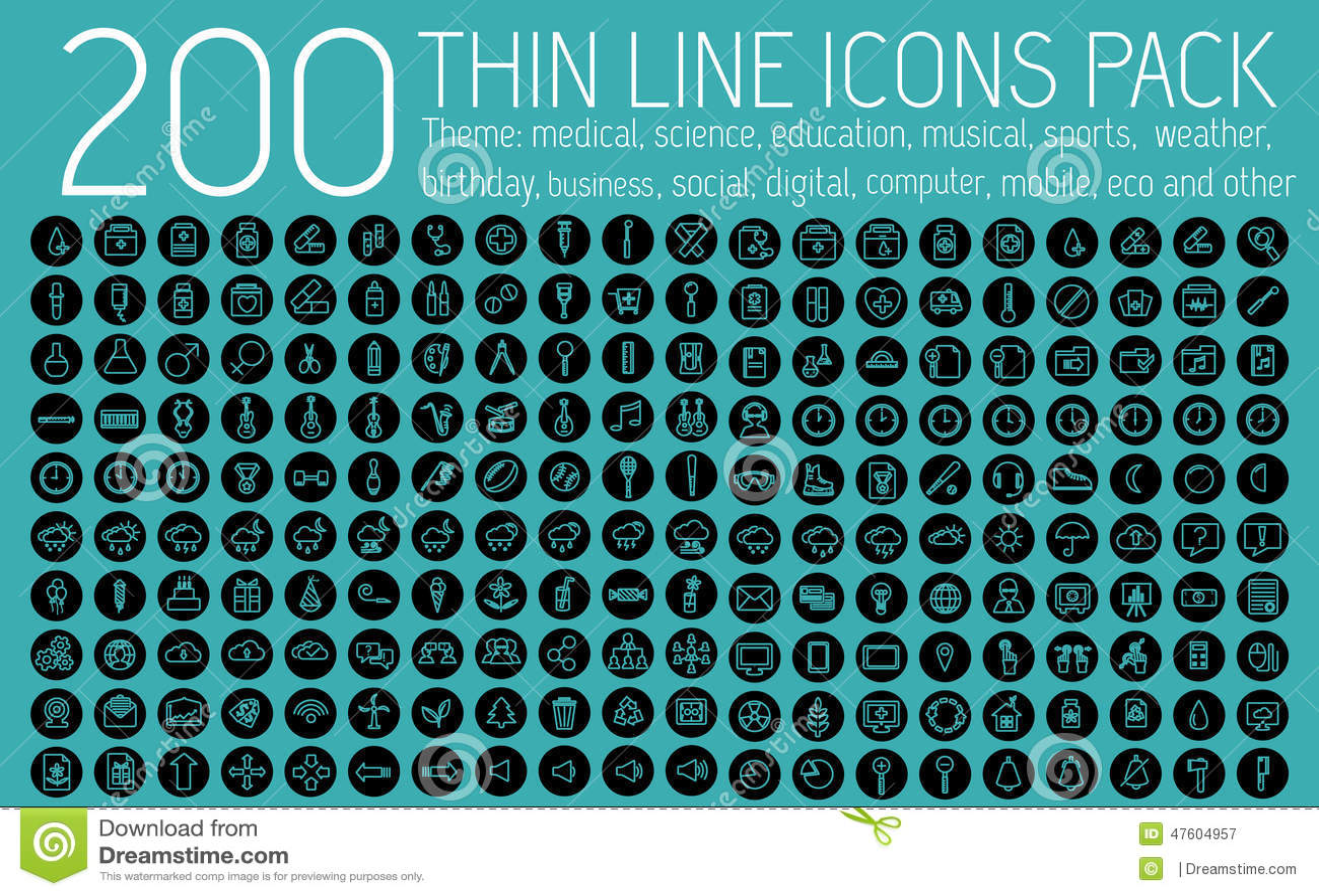 Tunna linjer begrepp för samling för pictogramsymbolsuppsättning
